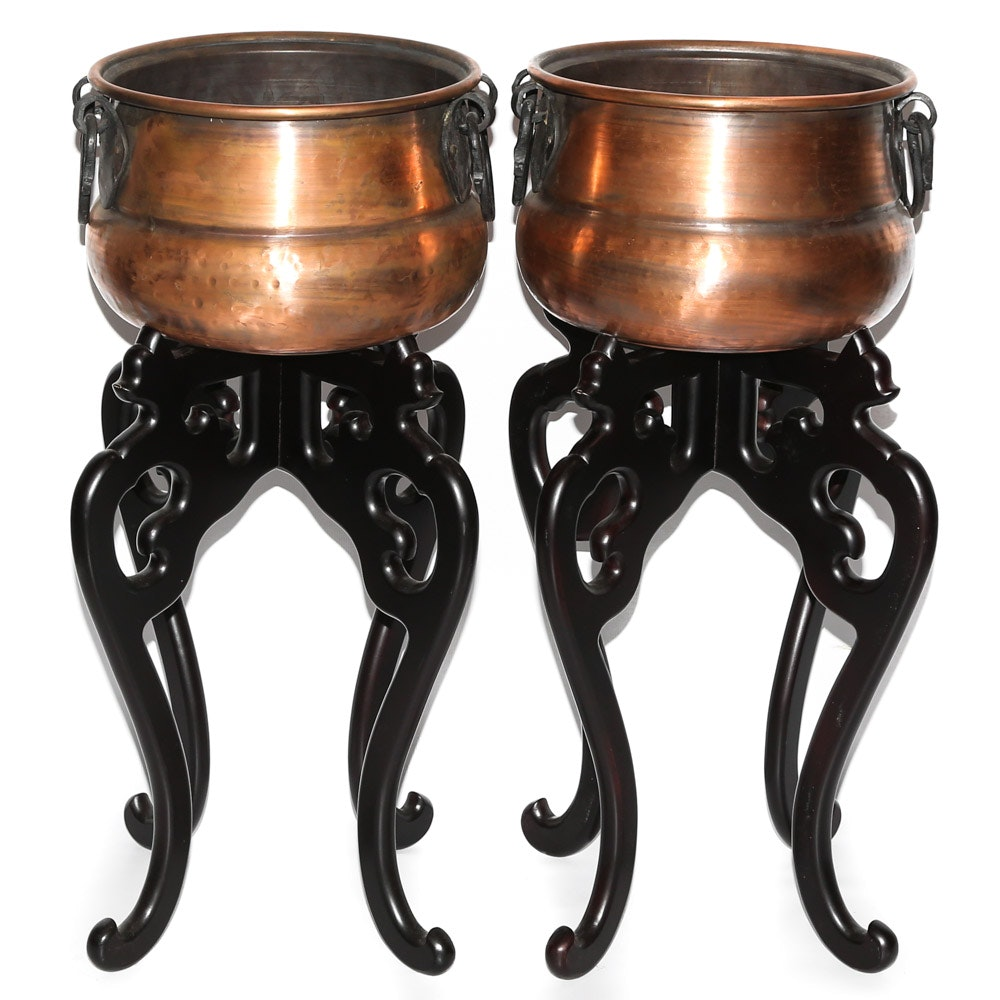 Decorative Copper Pots with Stands