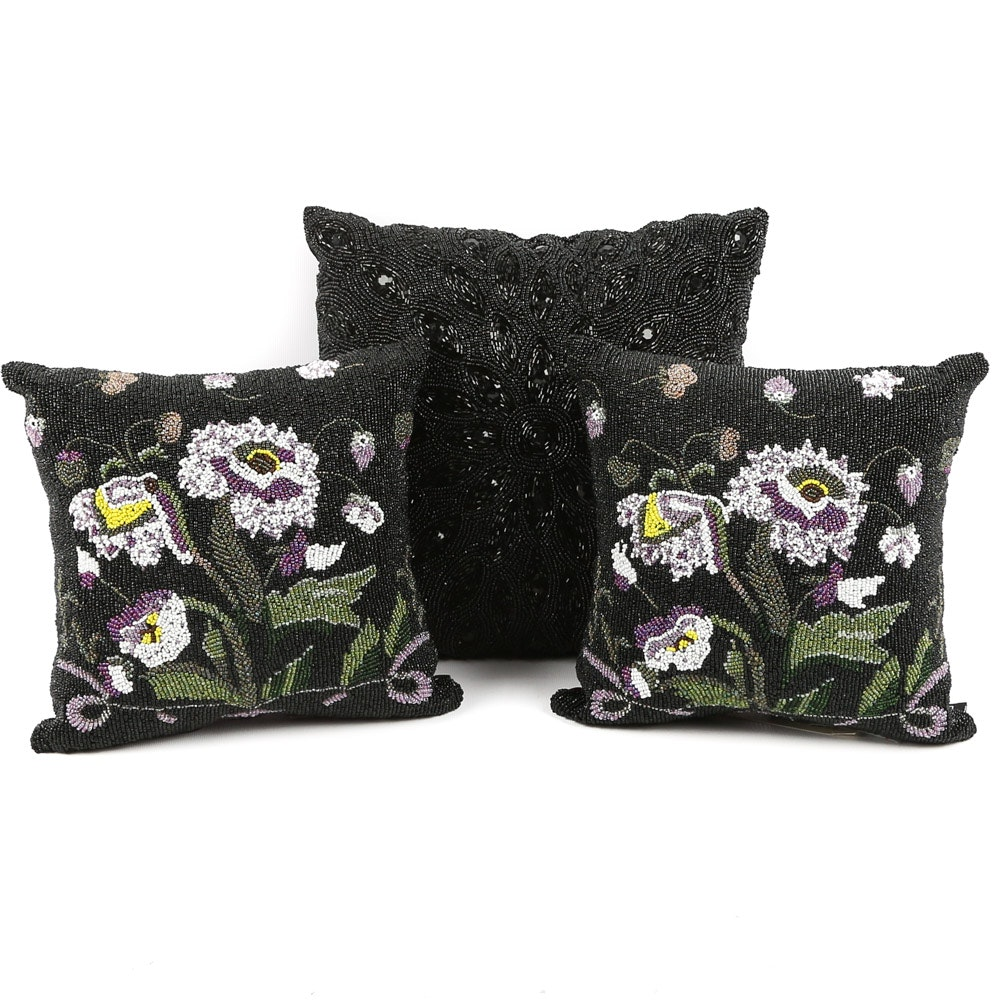 "Christiana Beaded Accent Pillows Including ""Night in Paris"""