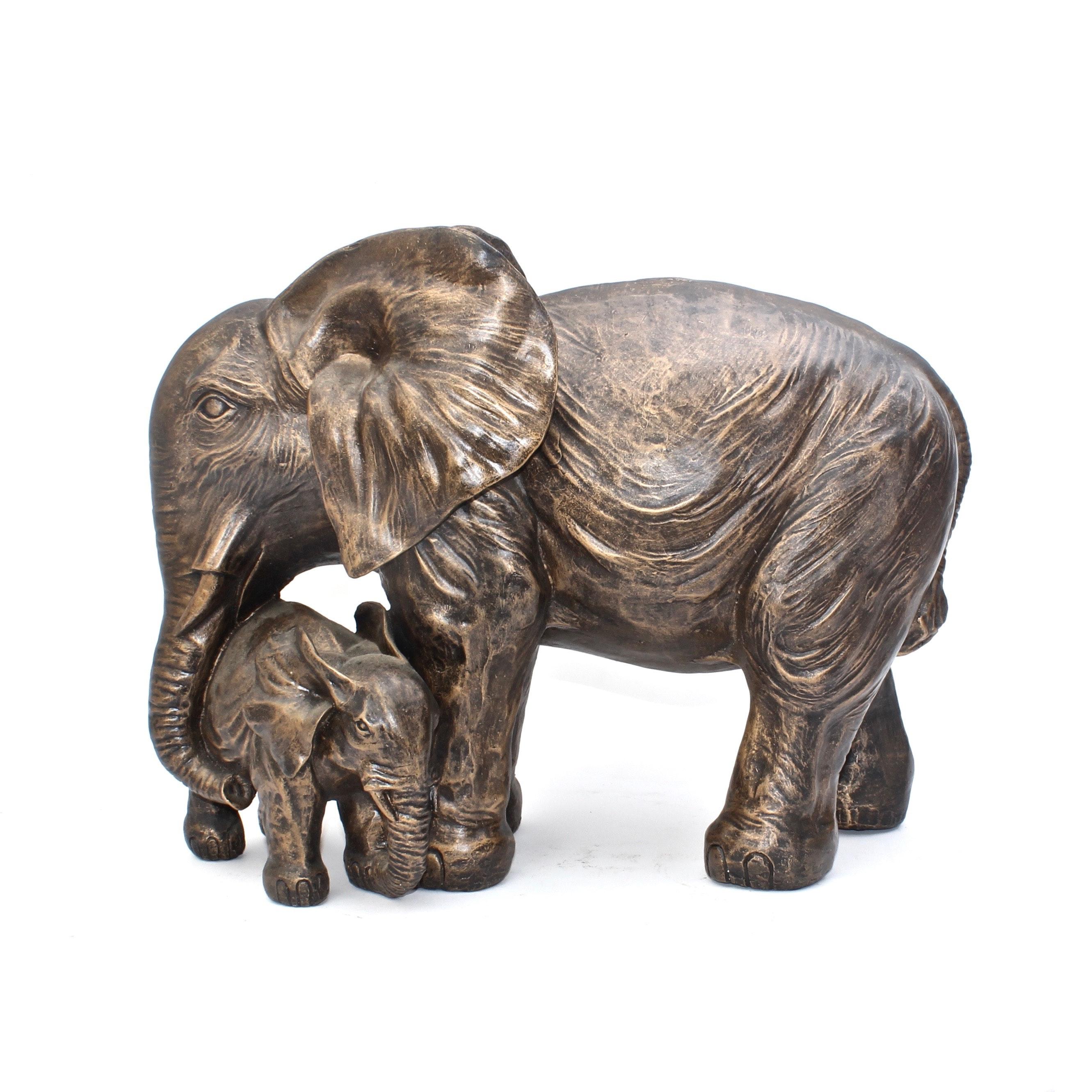 Plaster Copper Tone Elephant Sculpture