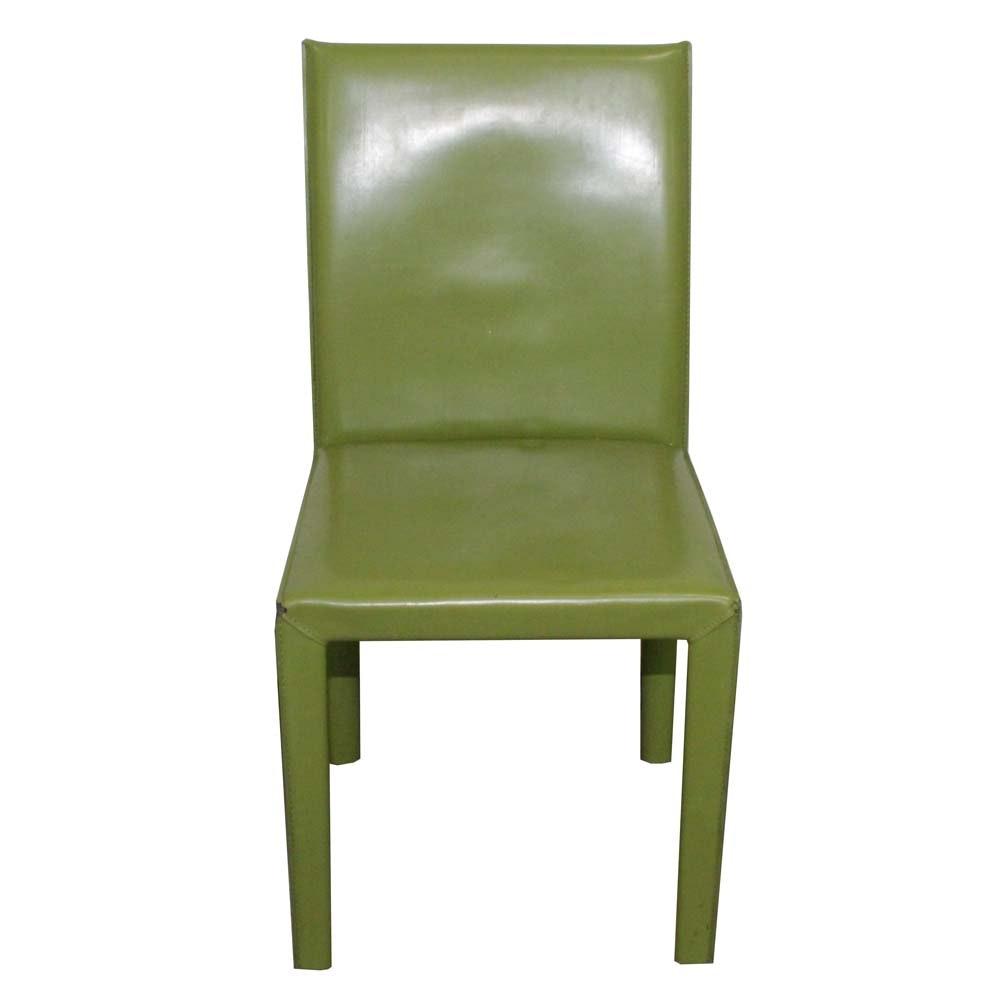 Green Vinyl Parson's Chair