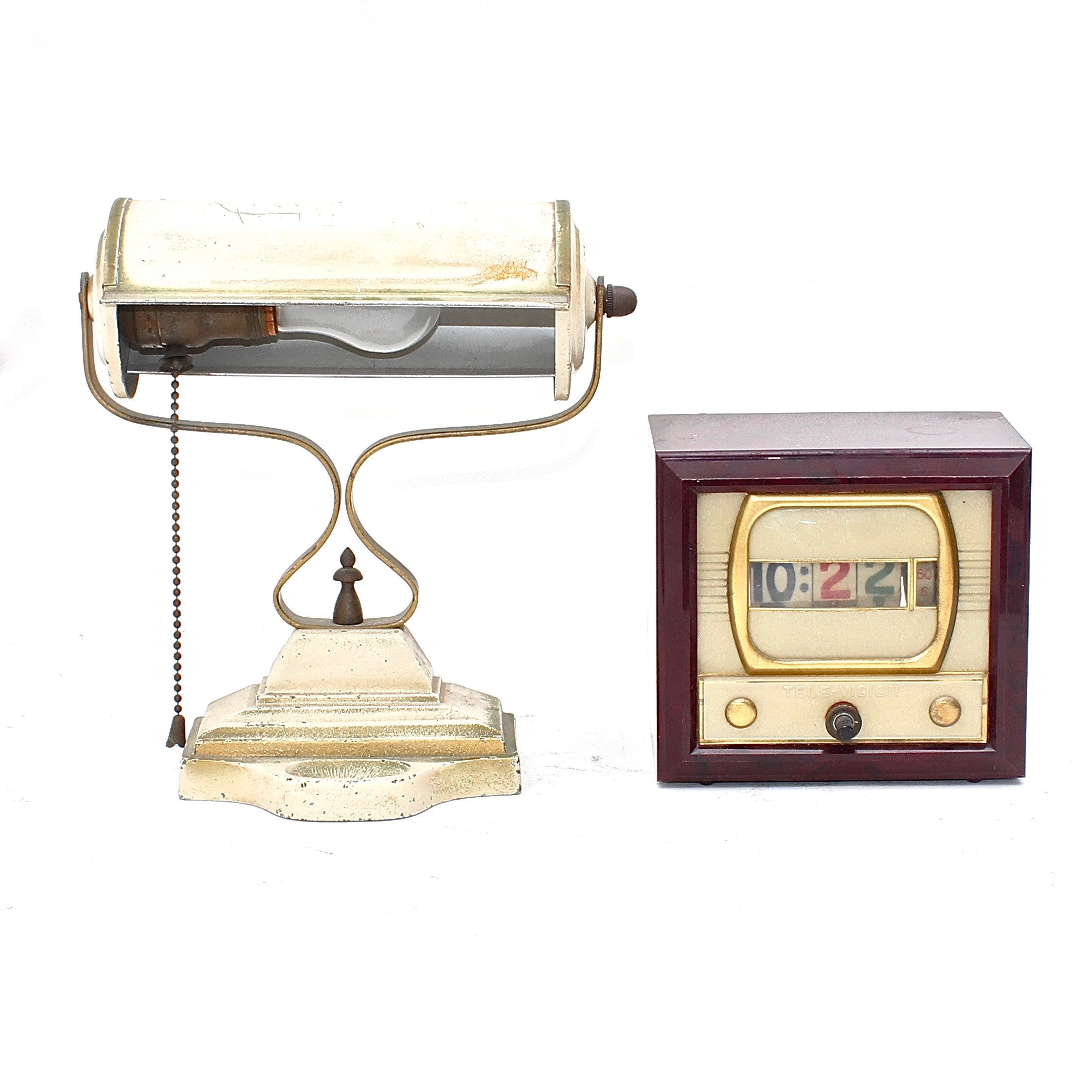 Vintage Banker's Desk Lamp and Alarm Clock