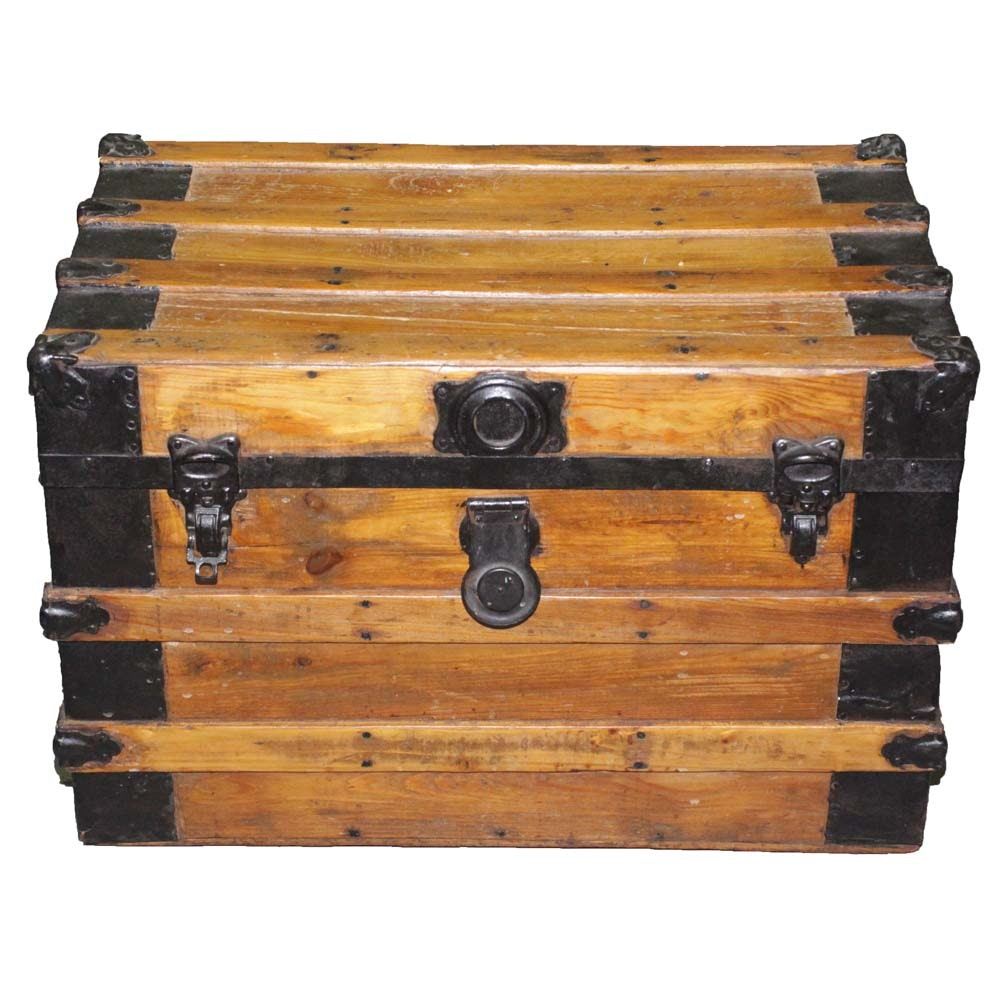 Antique Pine Steamer Trunk