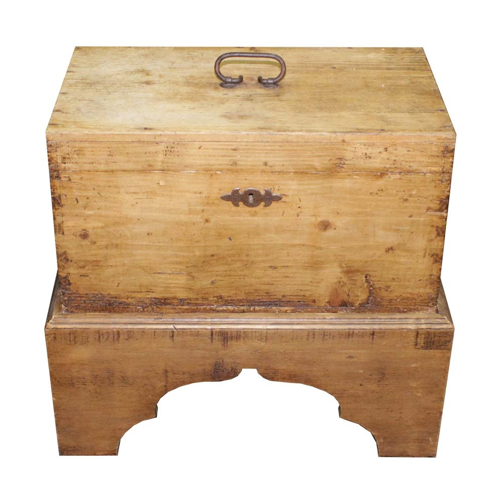 Antique English Pine Chest On Stand