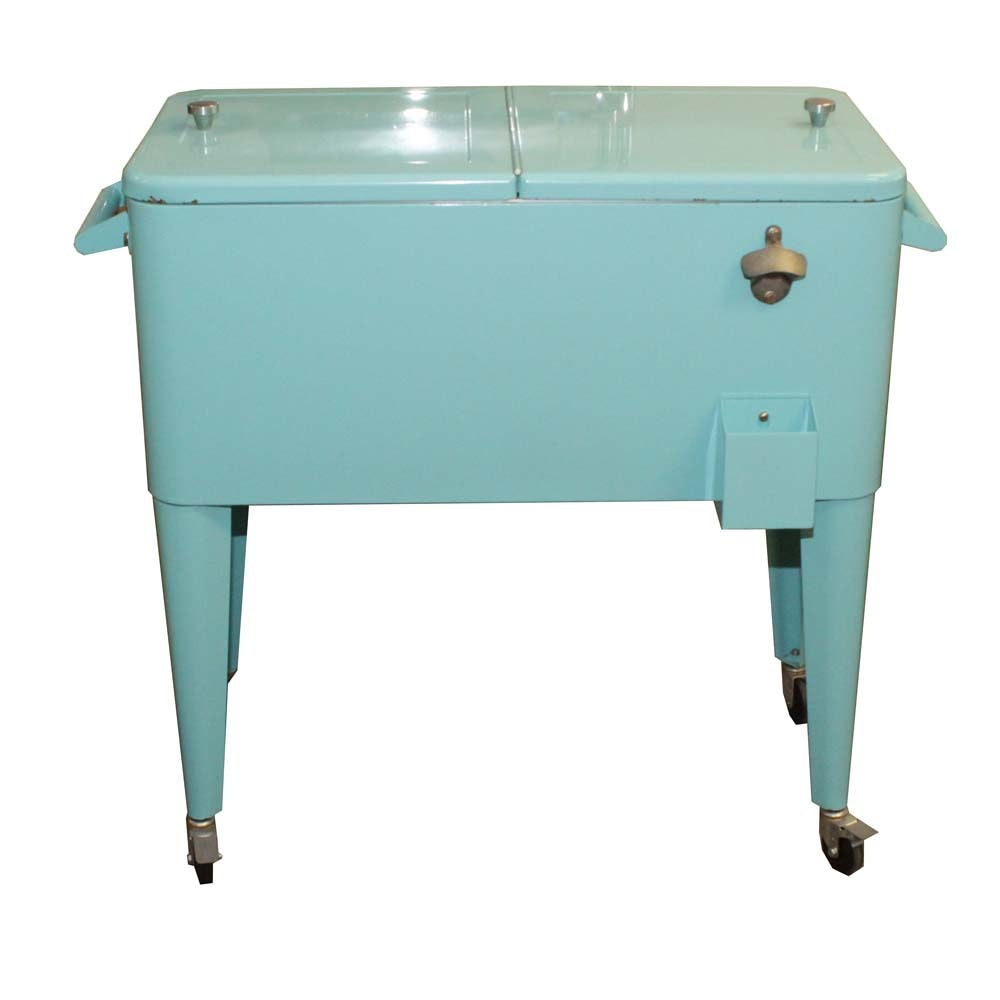 Aqua Enamel Ice Chest On Casters