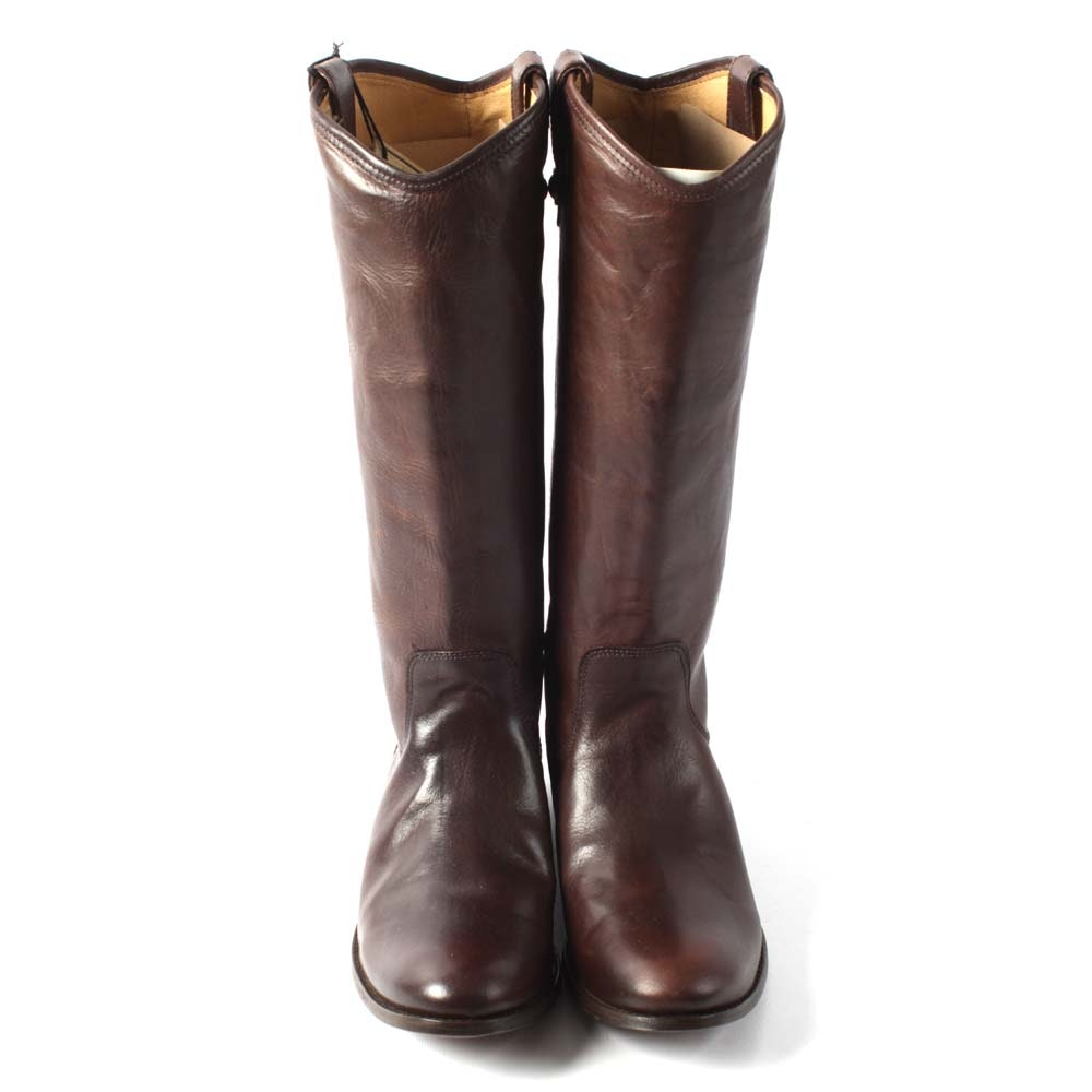 Frye Melissa Button Dark Brown Leather Boots