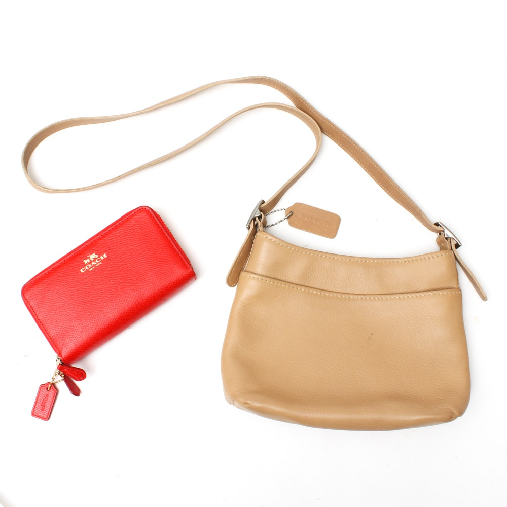 Coach Leather Shoulder Bag and Red Leather Wallet