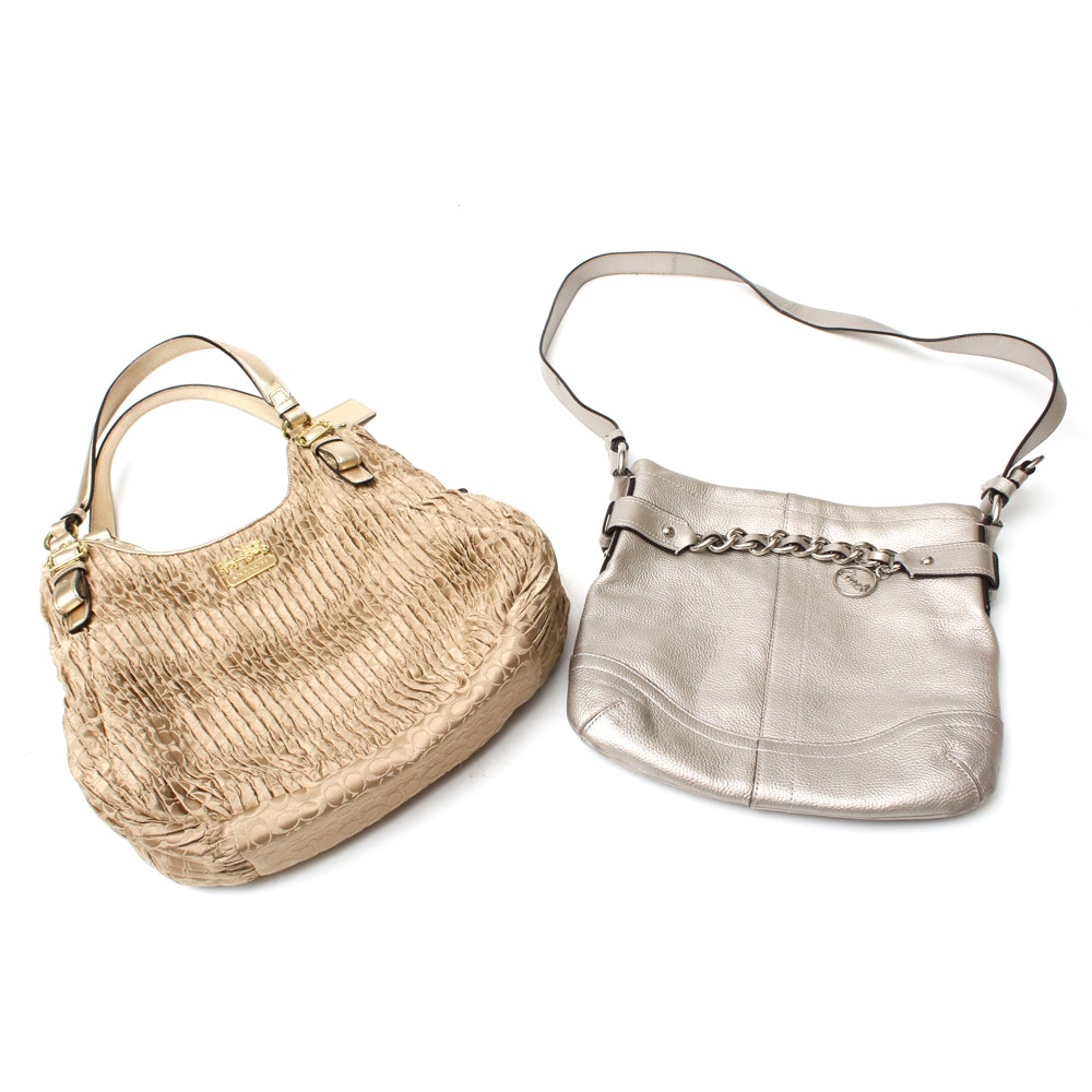 Coach Maggie Madison Signature Shoulder Bag and a Coach Metallic Duffle Bag