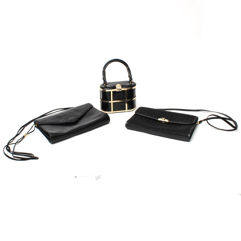 Three Black Handbags Including Pierre Cardin, Etra, and Koret