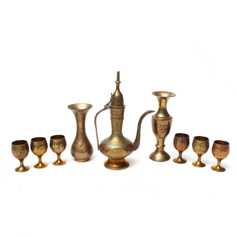 Selection of Thai Painted Brass Tableware