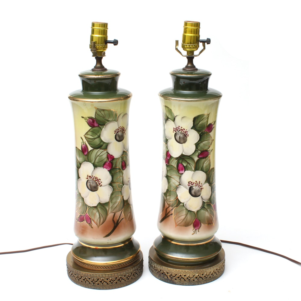 1940s Hobbyist Painted Christmas Rose Ceramic Table Lamps