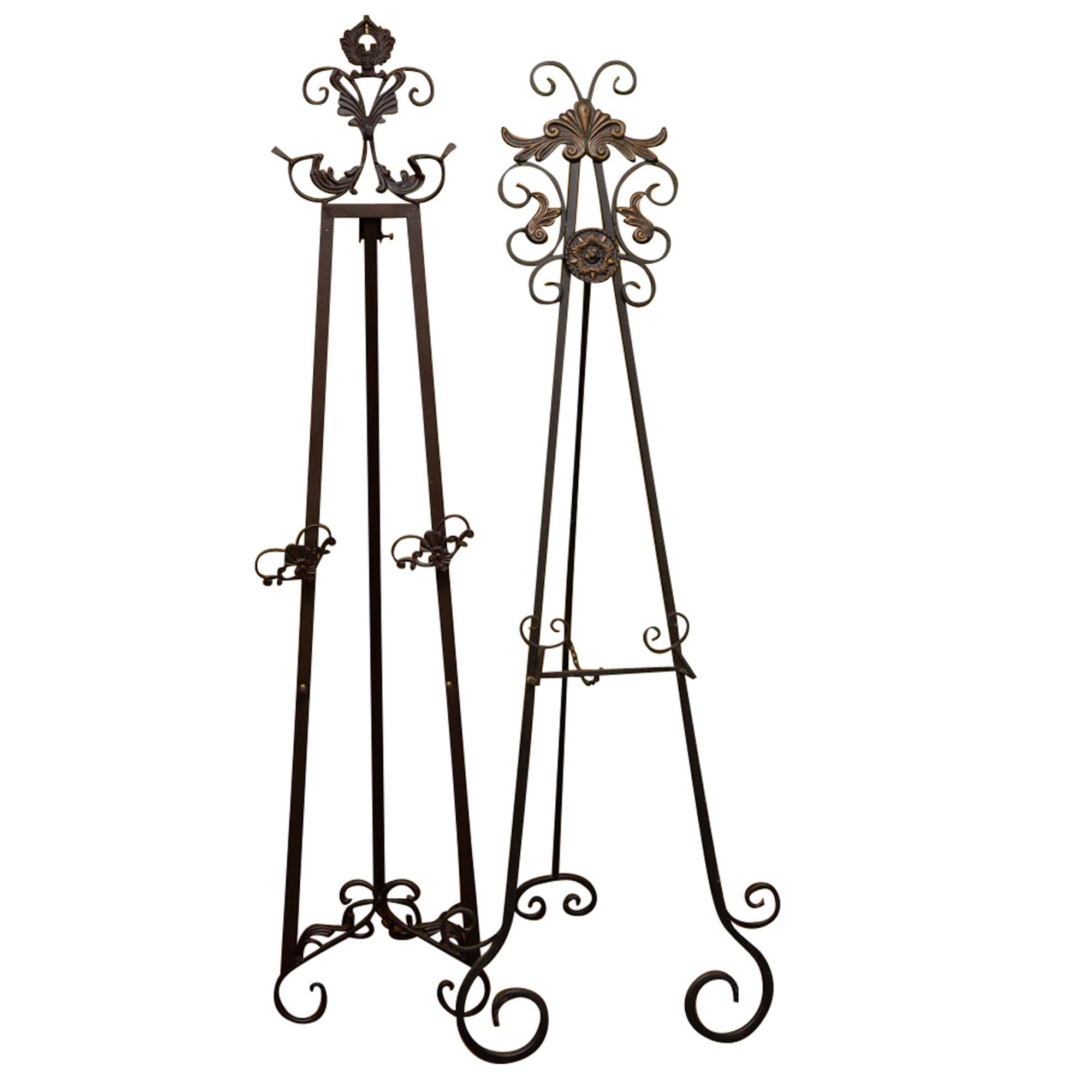 Scrolled Wrought Iron Easel Stands