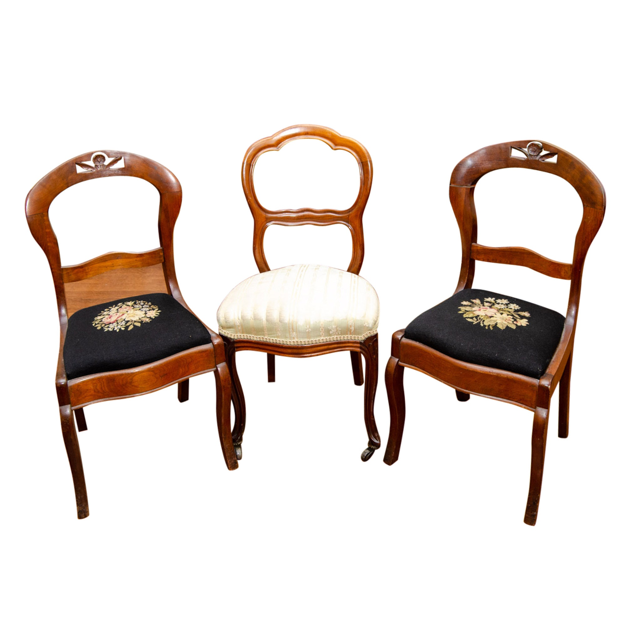 Vintage Wood Side Chairs with Needlepoint and Damask Seats