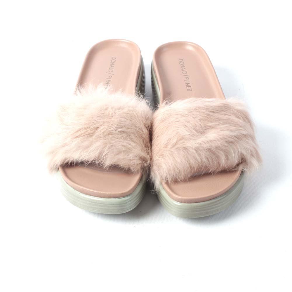 Donald J Pliner Blush Pink Rabbit Fur Scuffs
