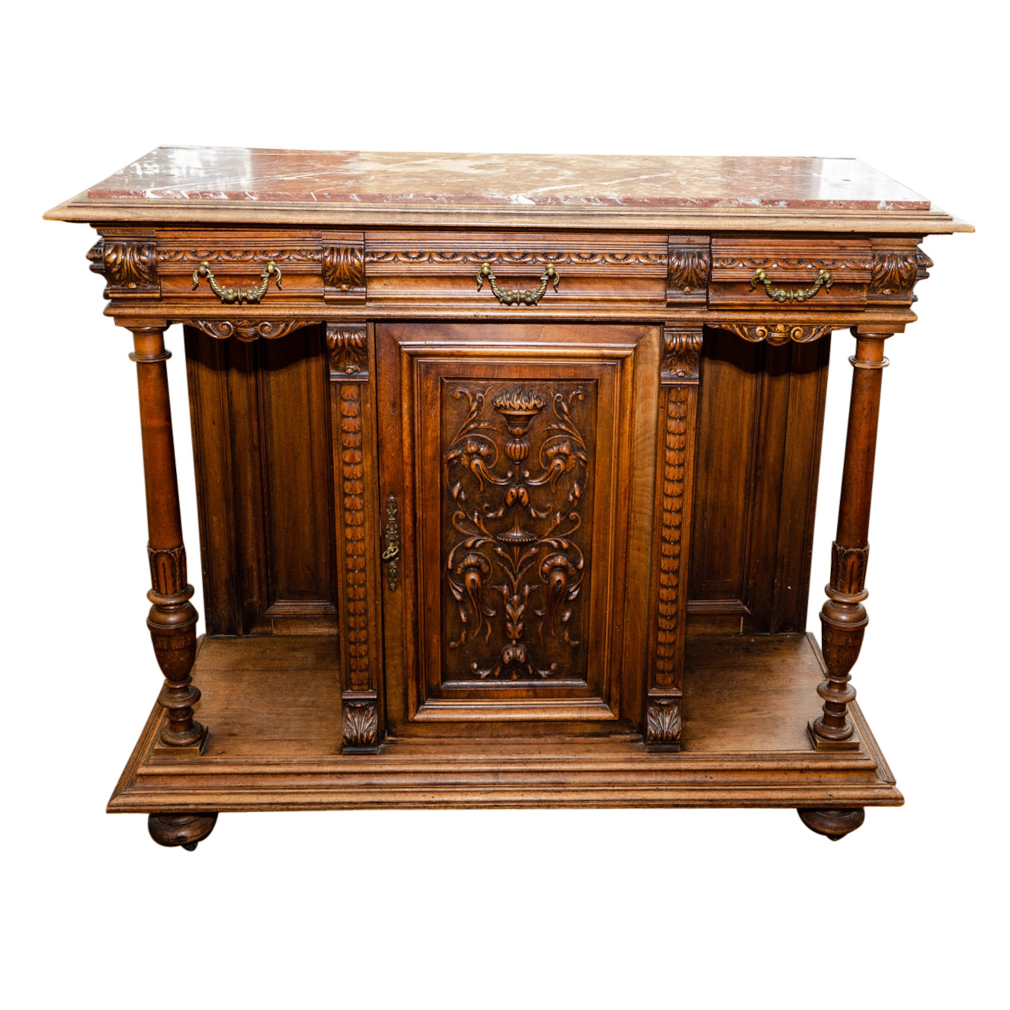 Antique French Louis XVI Style Walnut Sideboard with Marble Top
