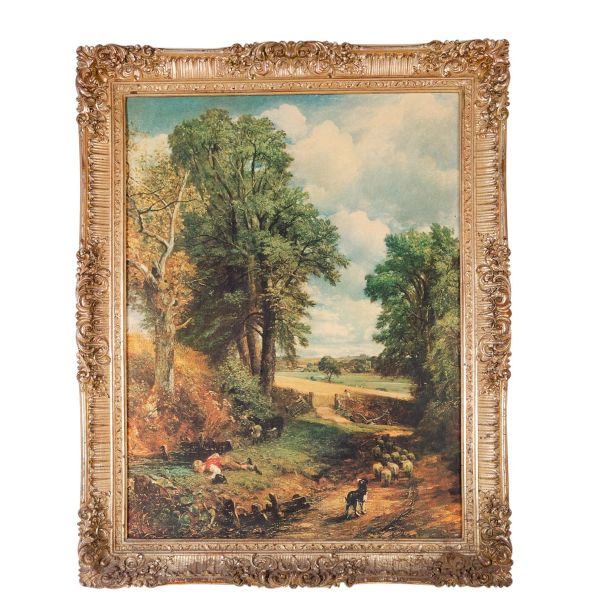 Vintage Landscape Offset Lithograph in Ornate Carved Gilt Frame