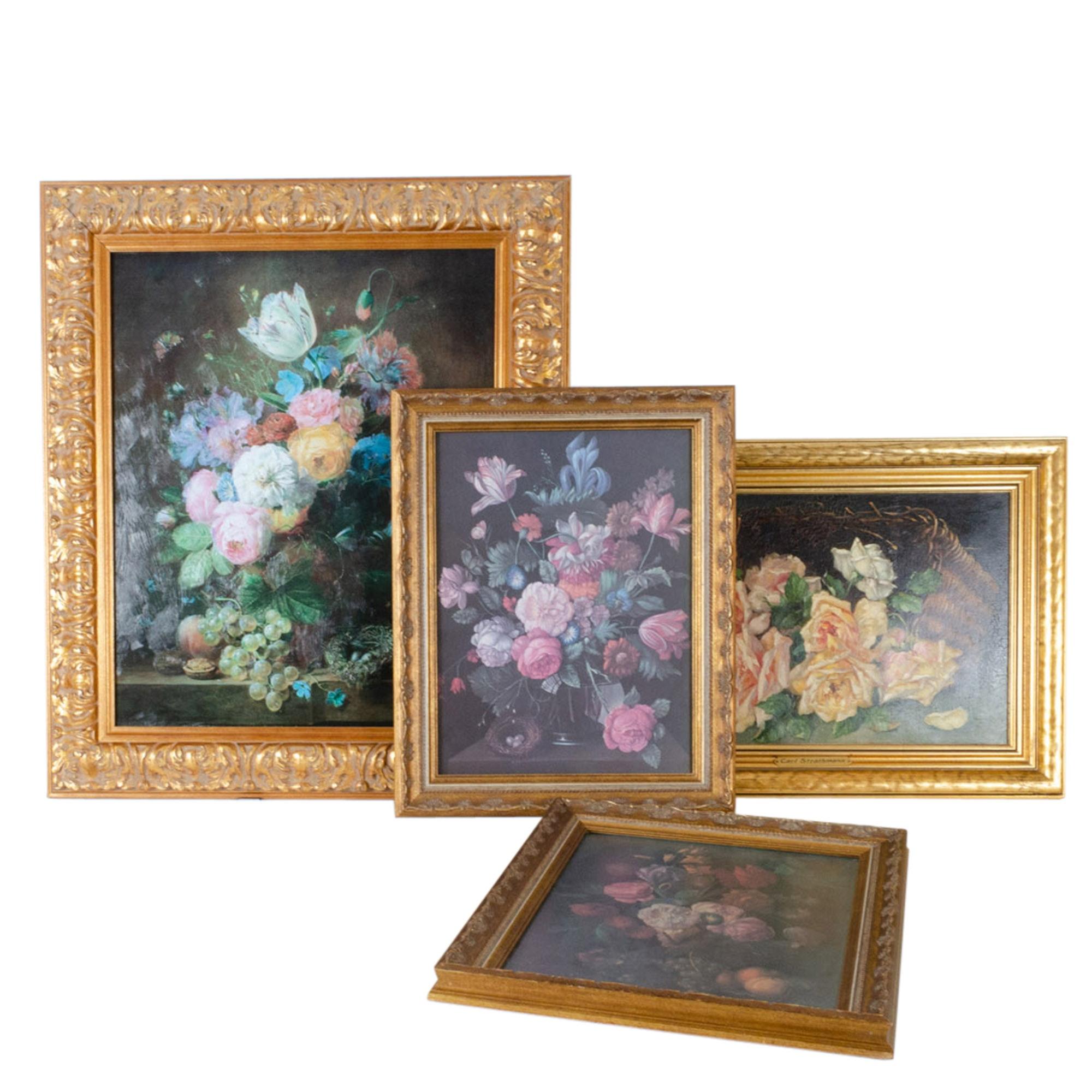 Vintage Floral Offset Lithographs in Ornate Gilt Frames