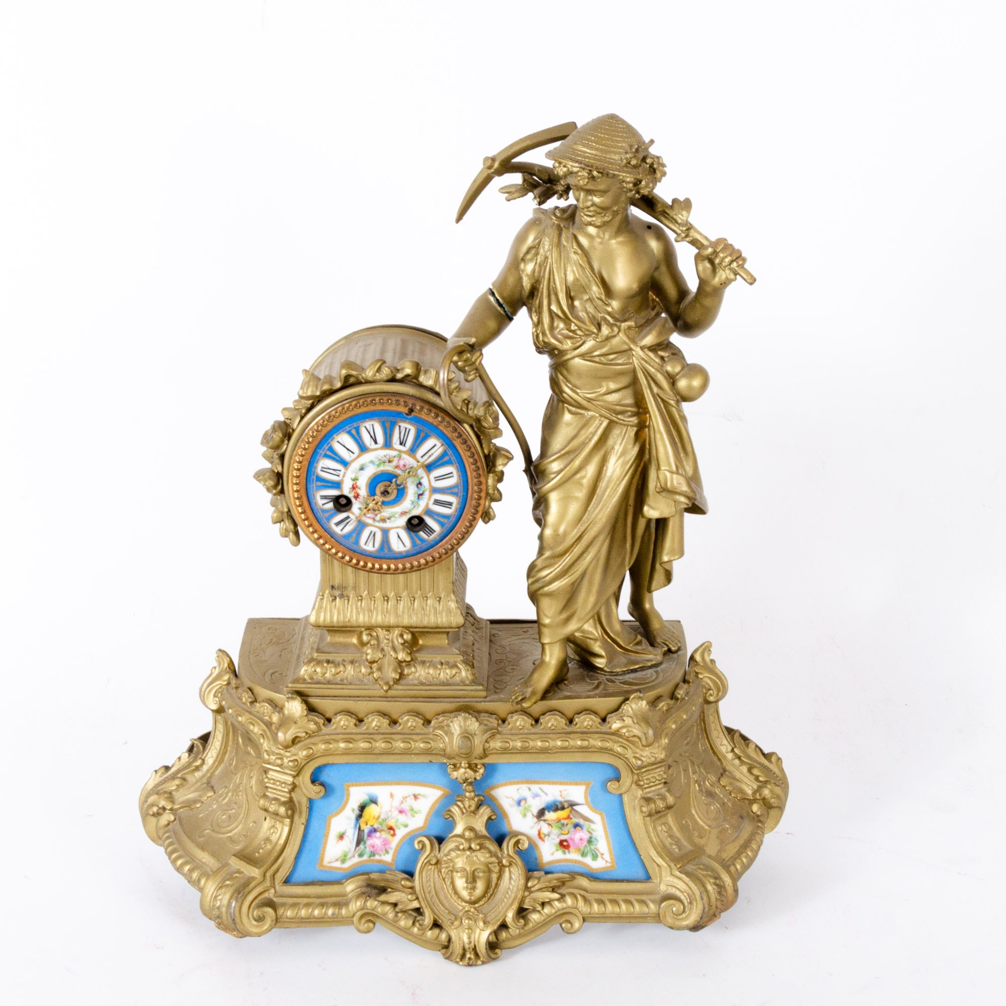 19th Century Gilt Bronze and Porcelain Sèvres Style Figural Mantel Clock