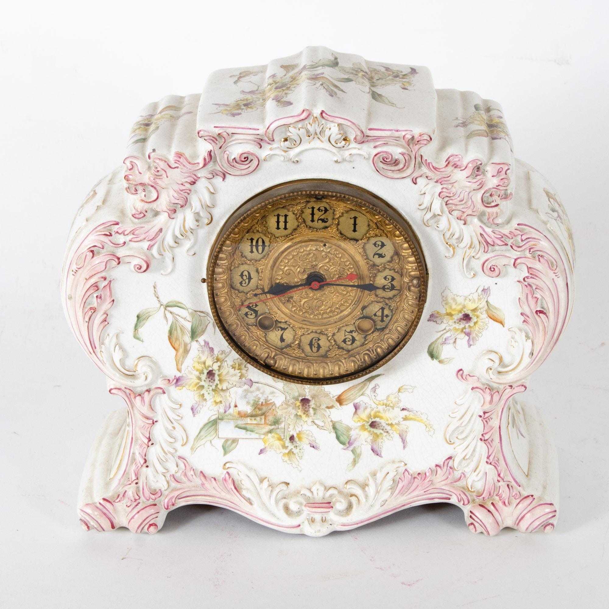 Vintage Electric Porcelain Mantel Clock
