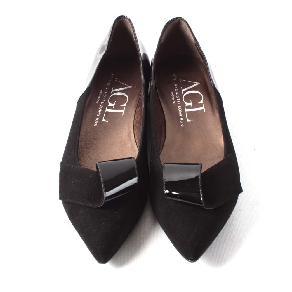 Attilio Giusti Leombruni Black Suede and Patent Leather Flats