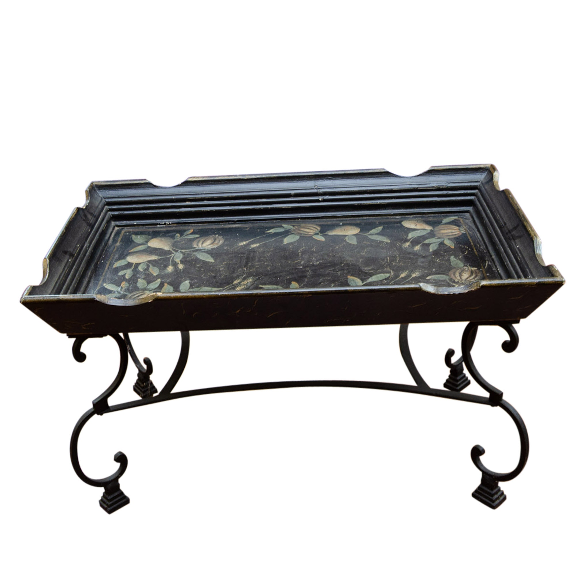 Stenciled Wood Tray Table on Wrought Iron Base