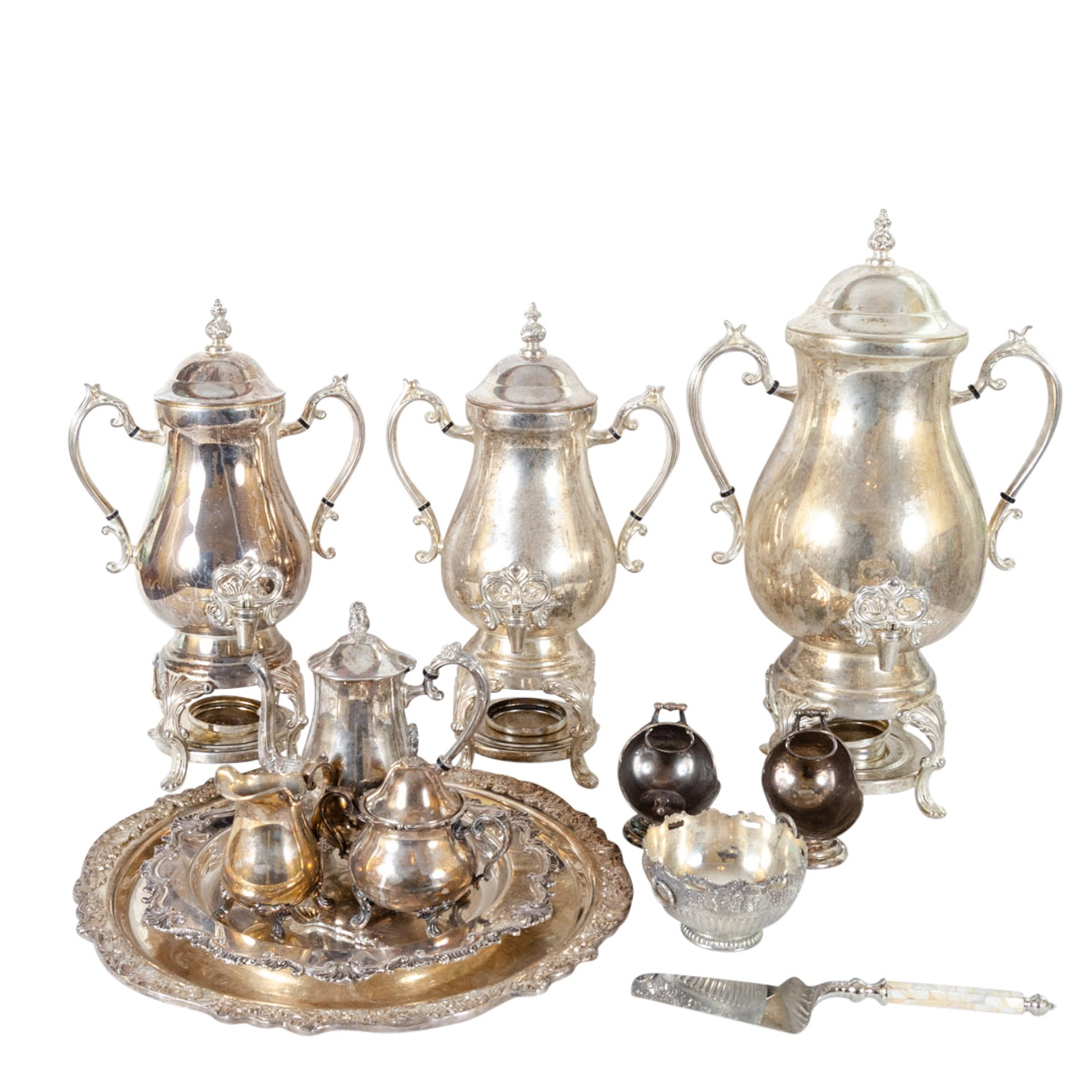 Silver Plate Hot Water Urns, Tea Service and Serveware
