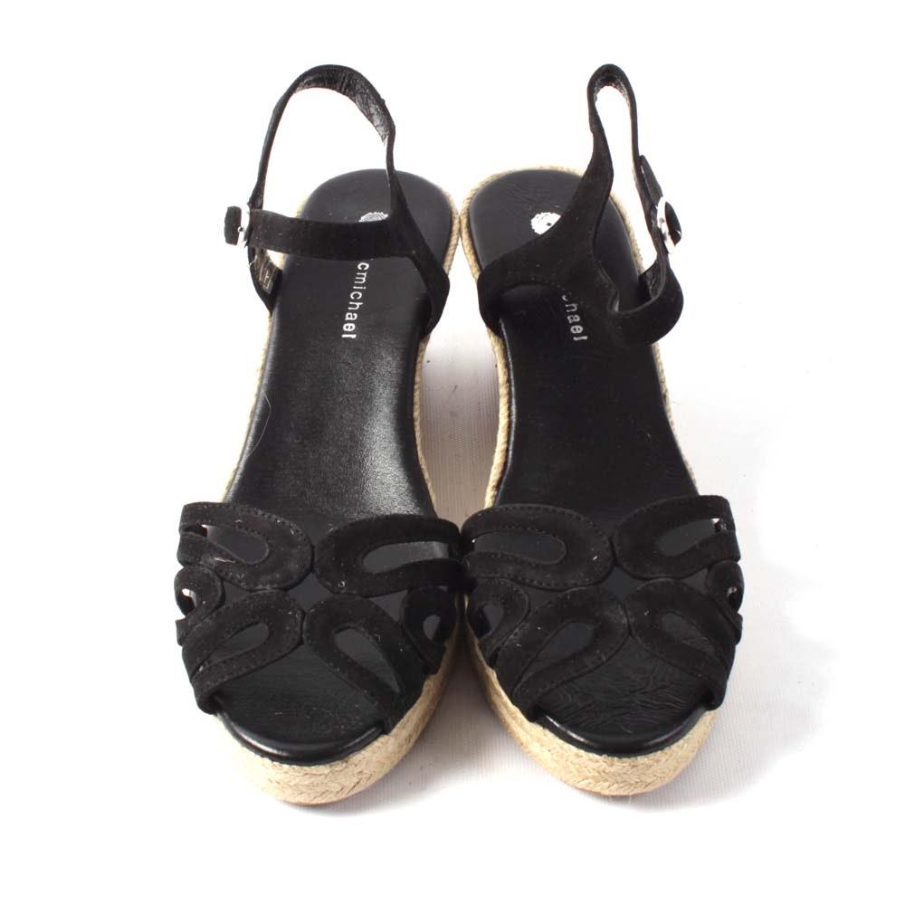 Eric Michaels Black Suede Marilyn Wedge Sandals