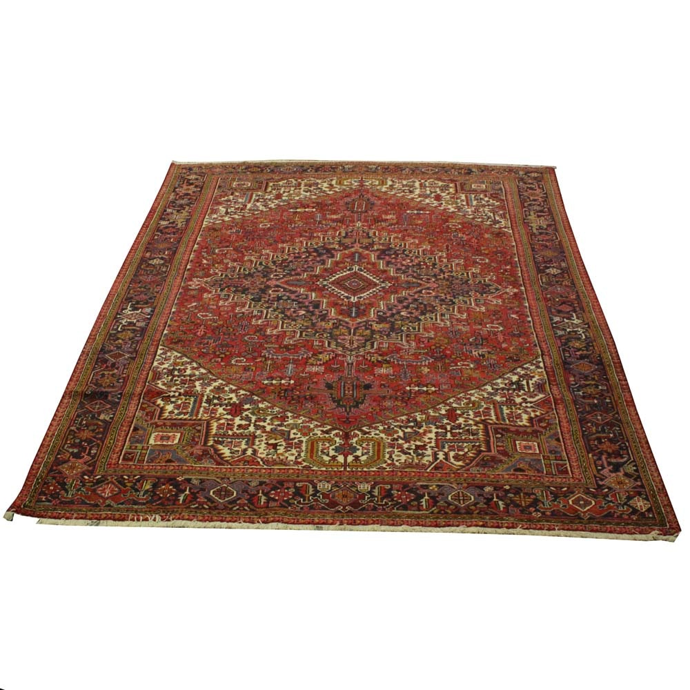 Hand-Knotted Indo Persian Heriz Wool Area Rug