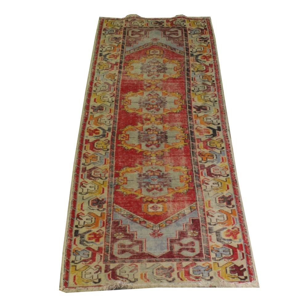Vintage Hand-Knotted Turkish Wool Carpet Runner