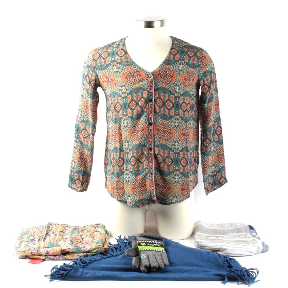 Tolani 100% Silk Blouse and Scarves