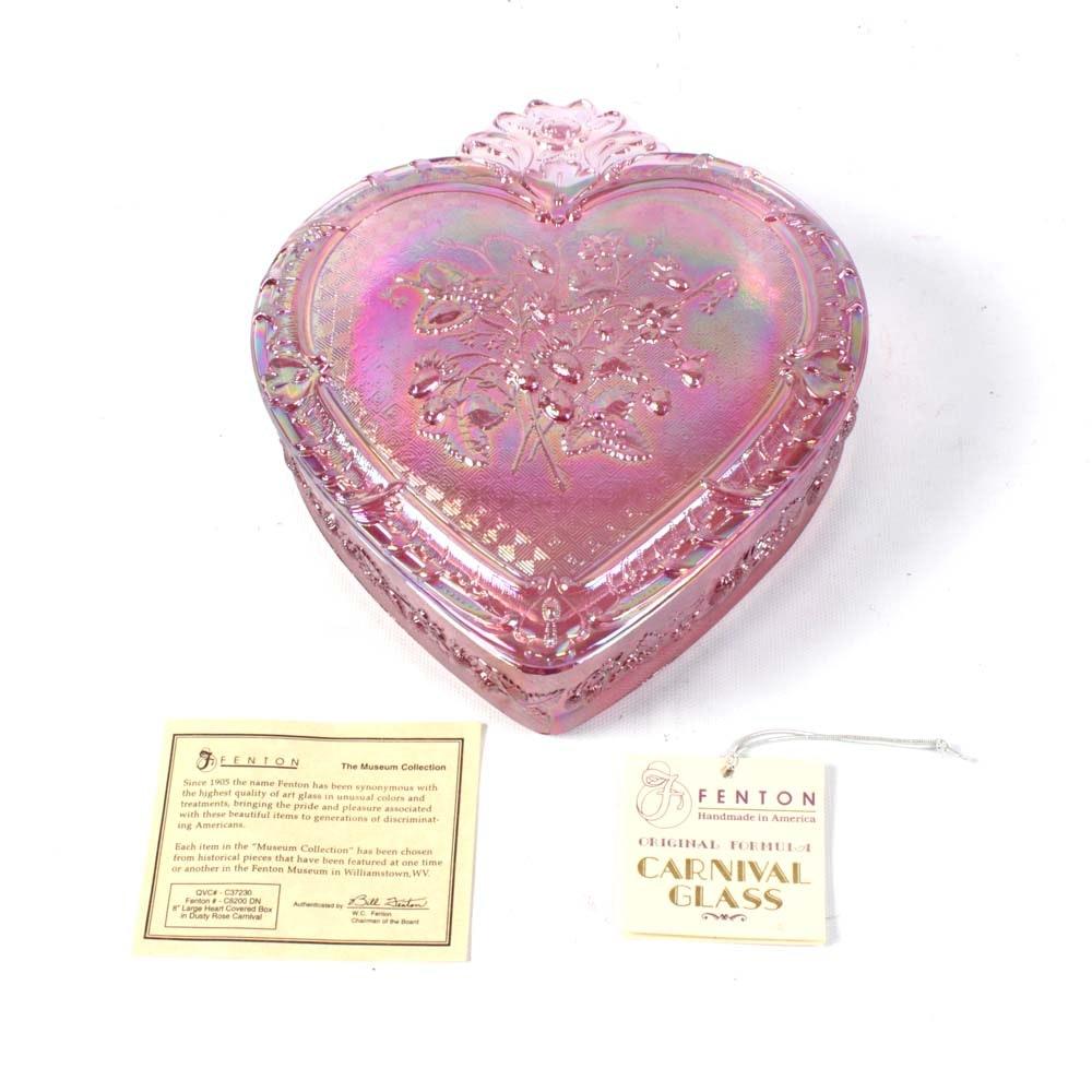 Fenton Carnival Glass Covered Heart Box