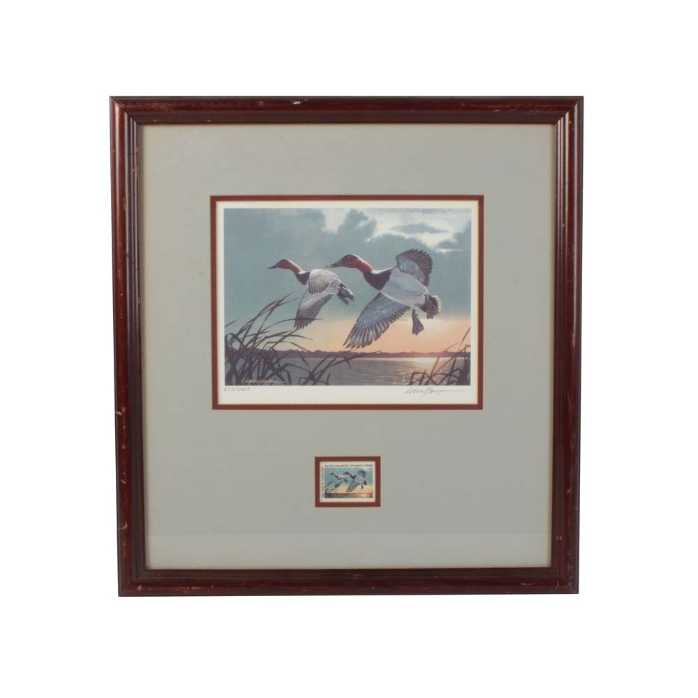 Larry Barton Limited Edition Offset Lithograph and NC Stamp