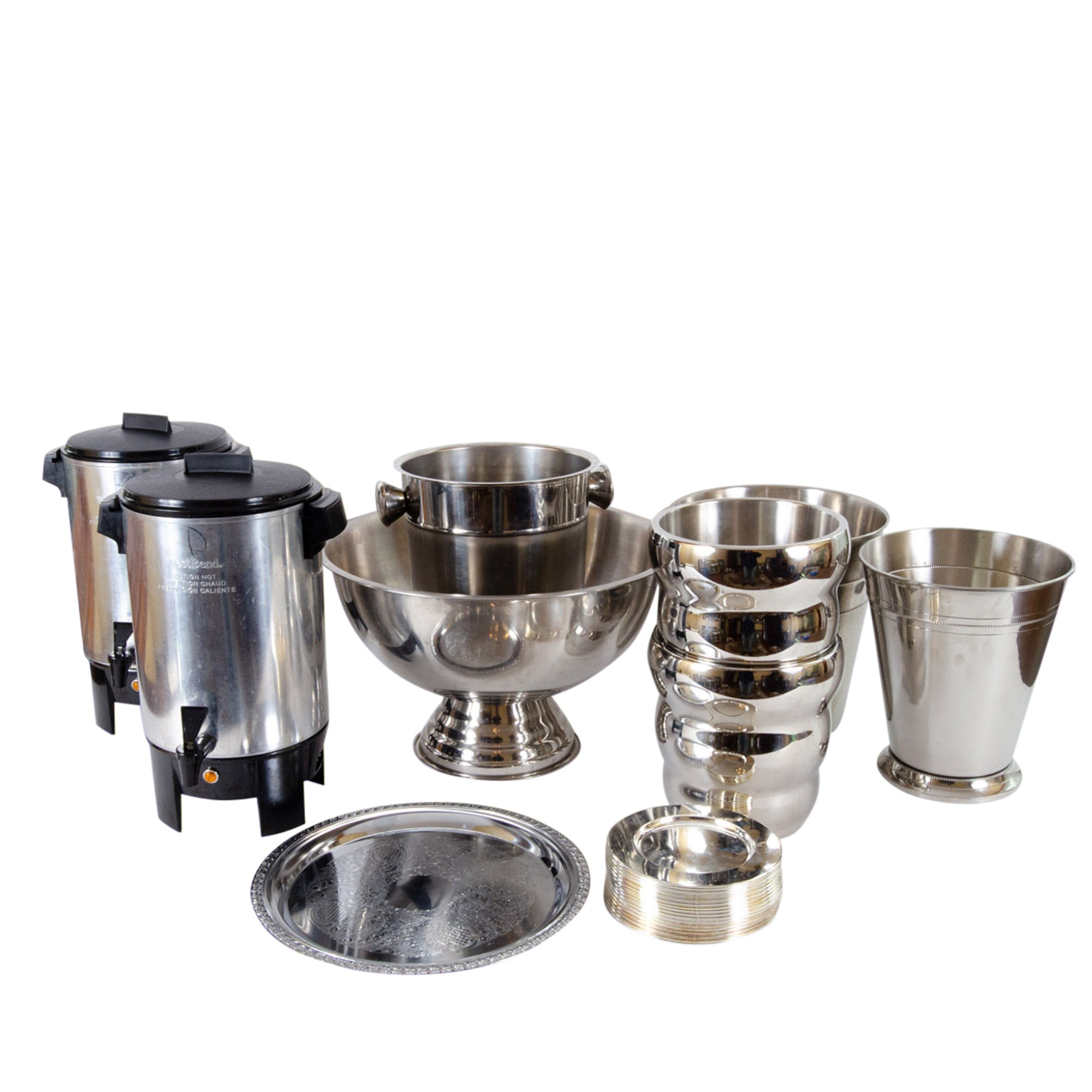 Westbend Coffee Perculators and Stainless Steel and Silverplate Serveware