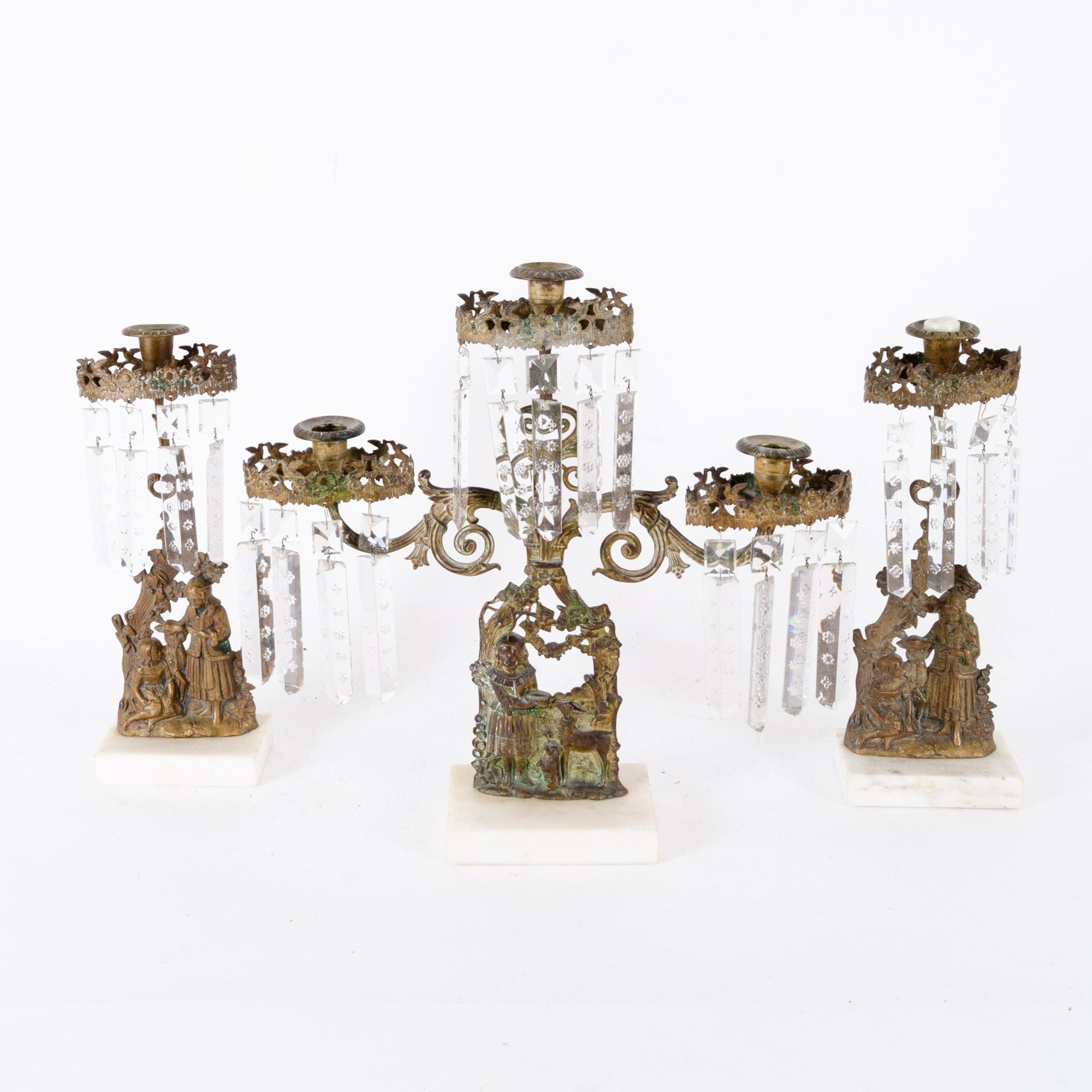 Crystal Girandole and Candlesticks