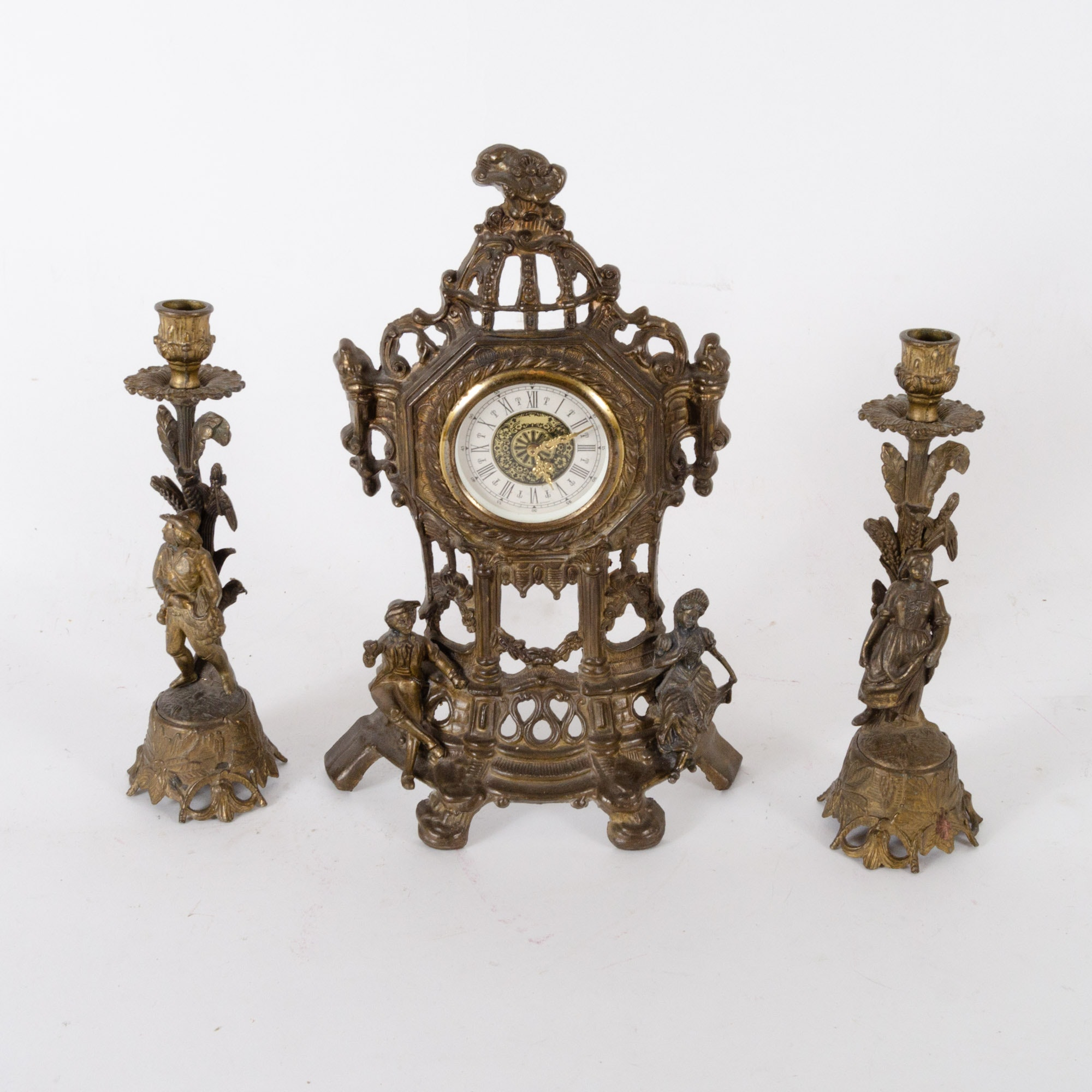 German Cast Metal Garniture Clock Set