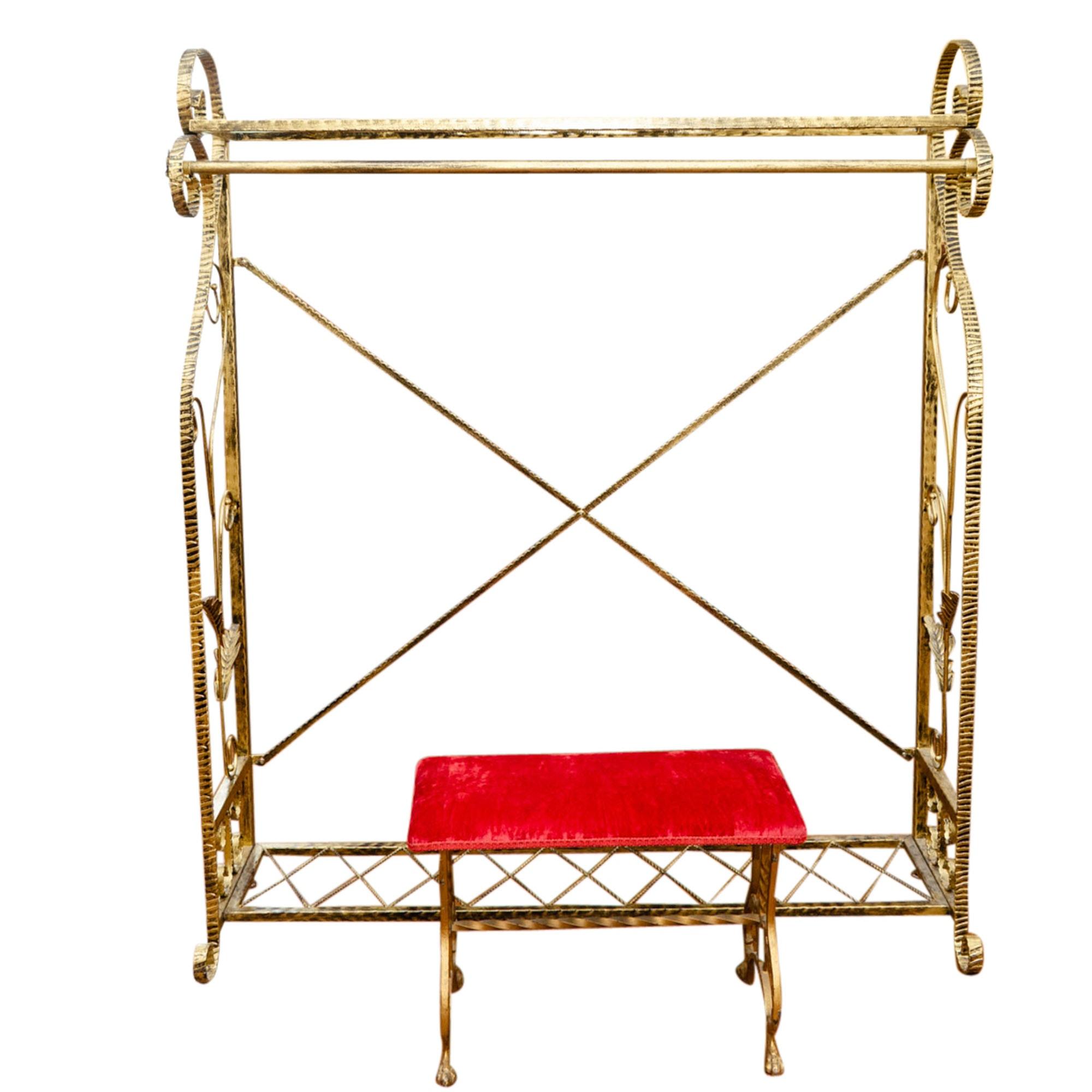 Gilt Metal Garment Rack and Velvet Upholstered Stool