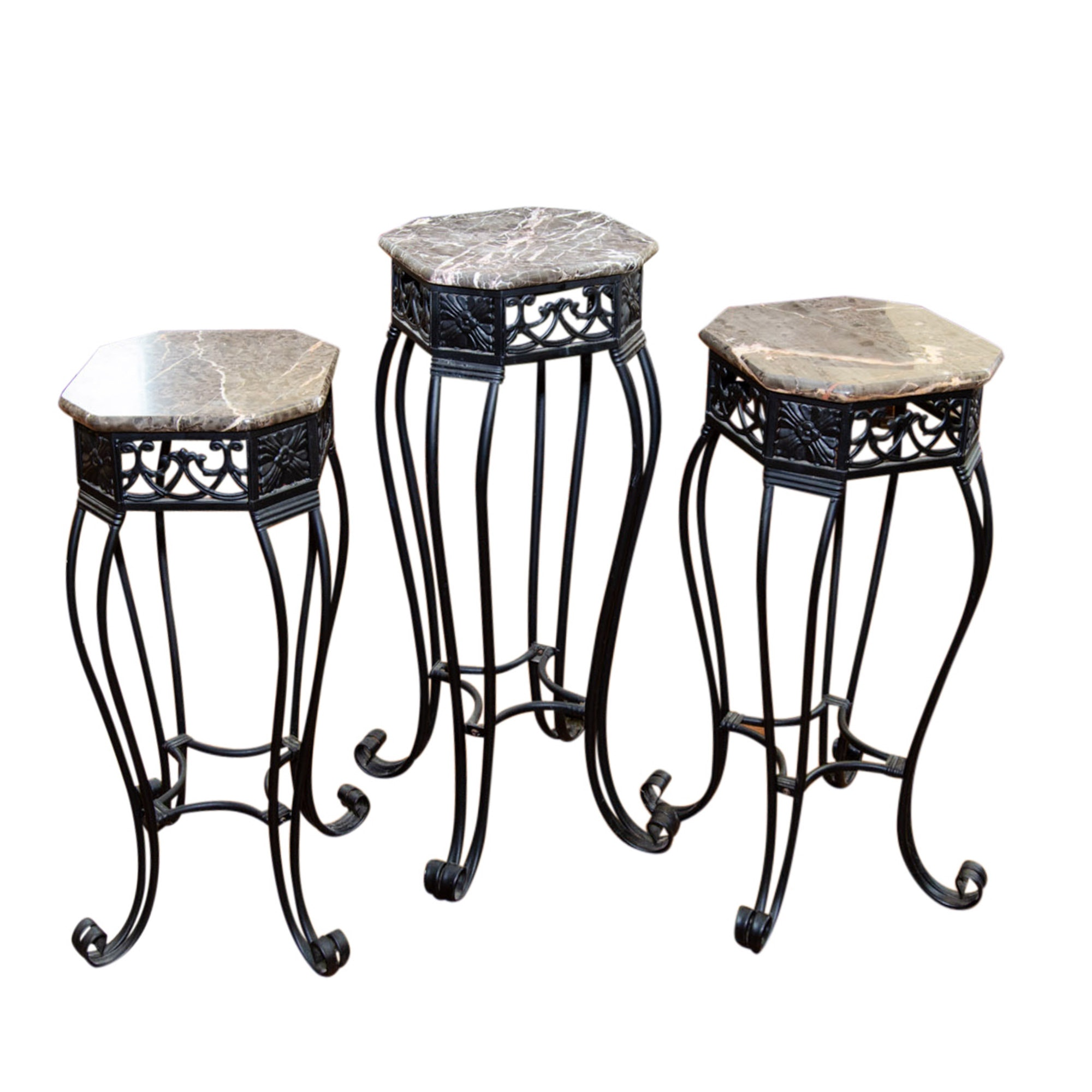 Assortment of Three Marble Top Accent Tables