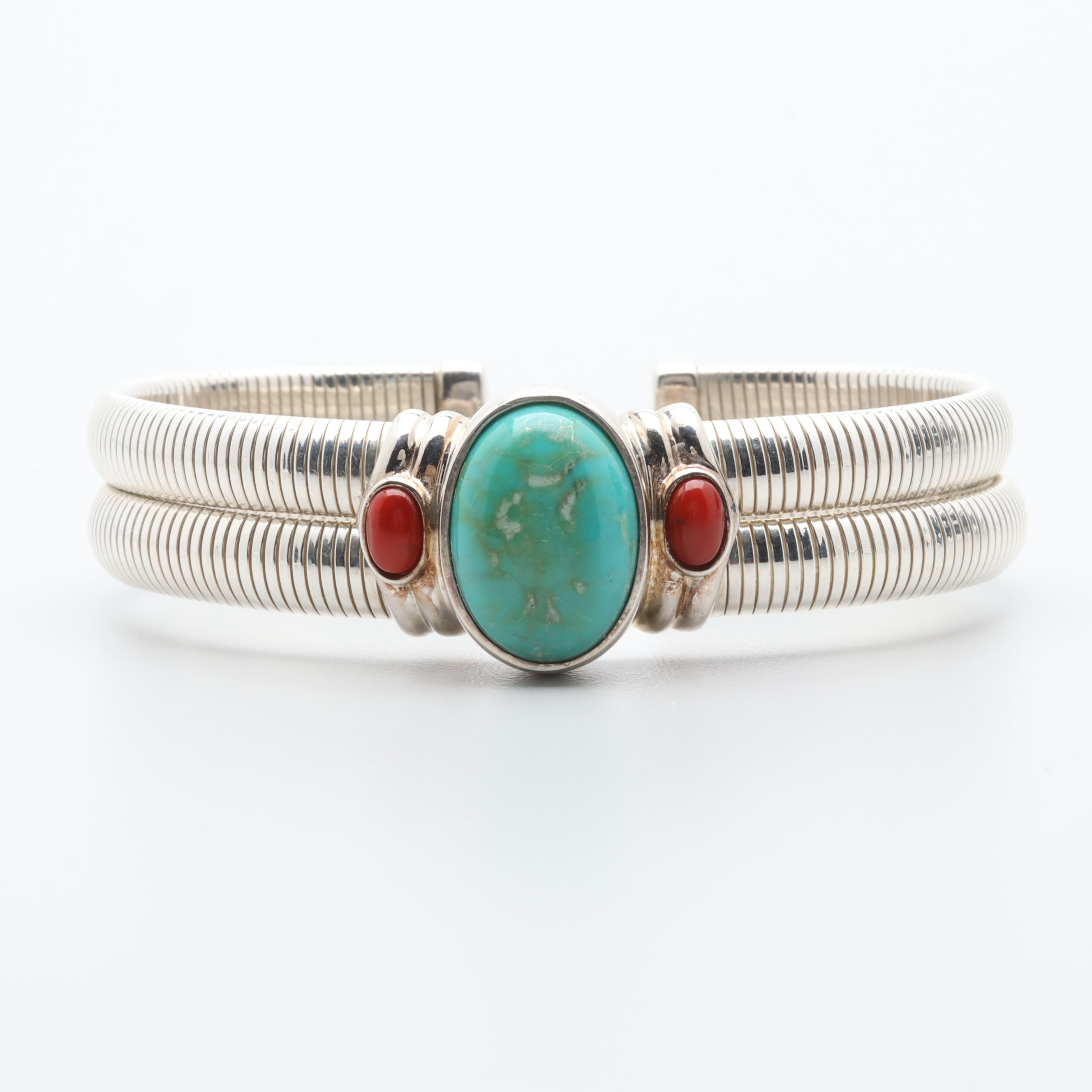 Joseph Esposito Sterling Silver Turquoise and Coral Flex Fit Cuff Bracelet