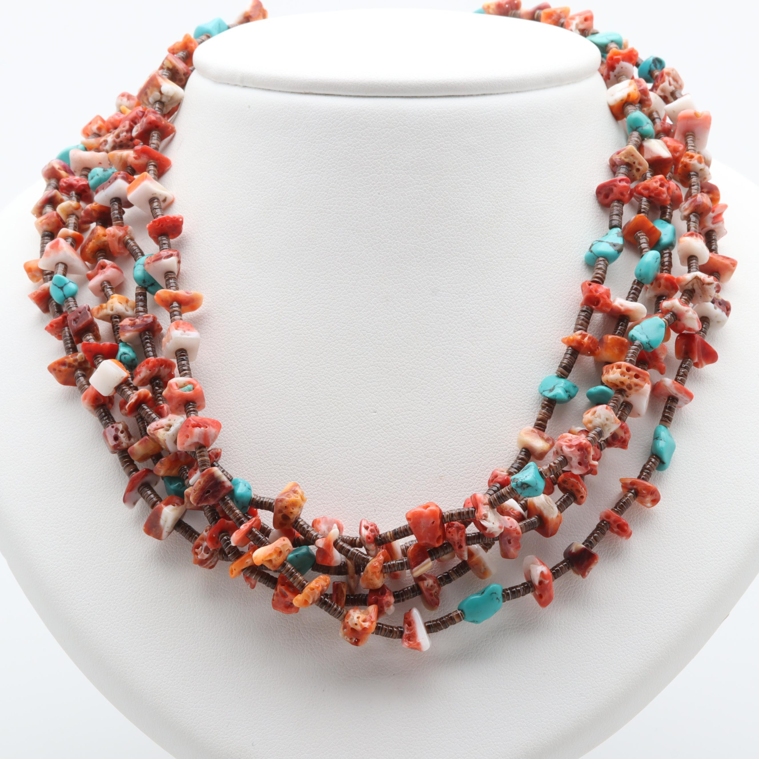 Sterling Silver Turquoise, Shell, and Coral Beaded Necklace