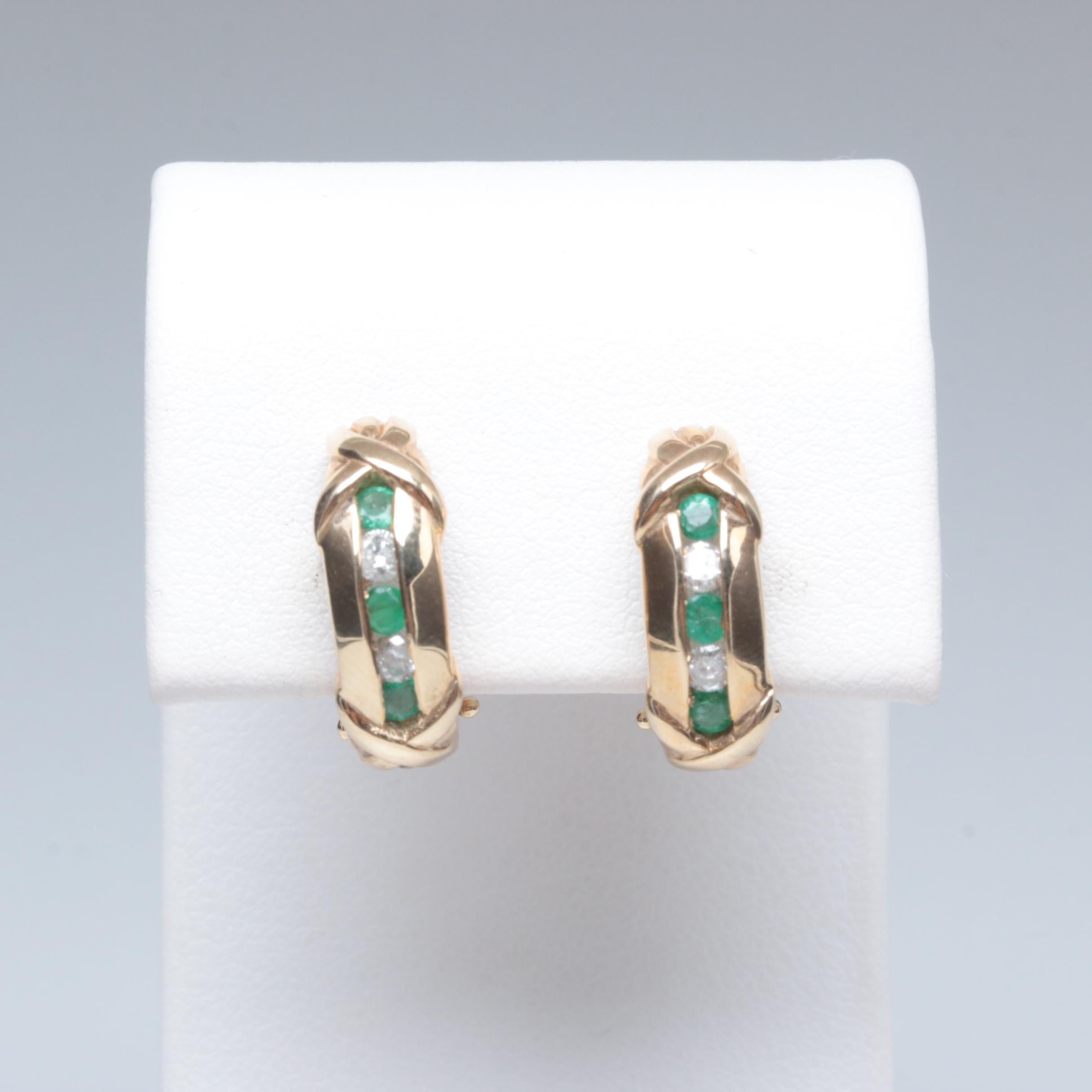 10K Yellow Gold Emerald and Diamond Clip On Earrings