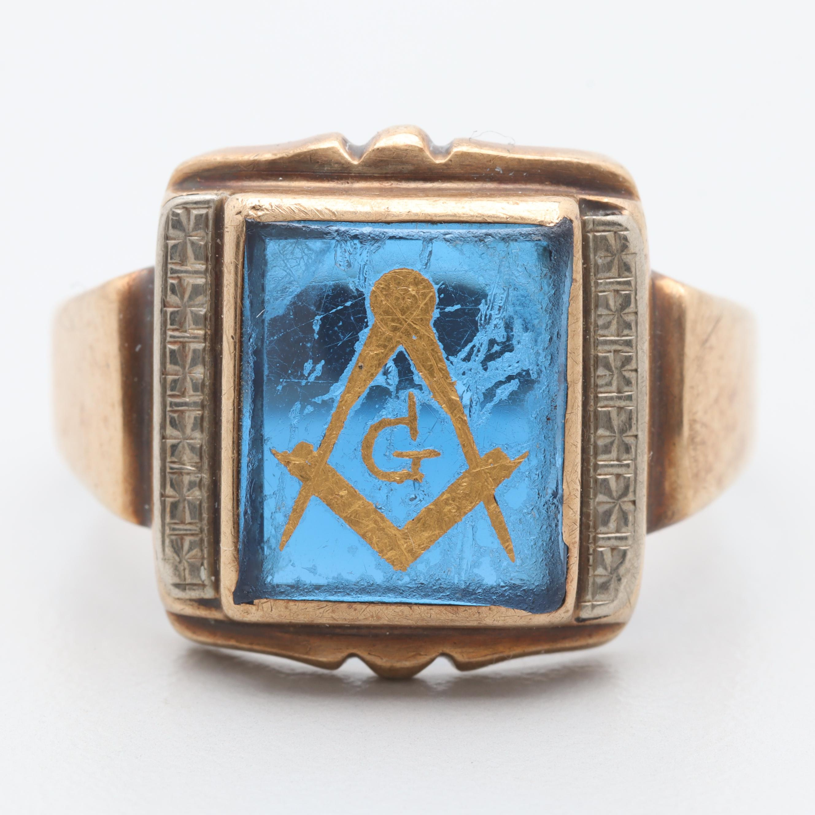 10K Yellow Gold Synthetic Spinel Freemason Ring