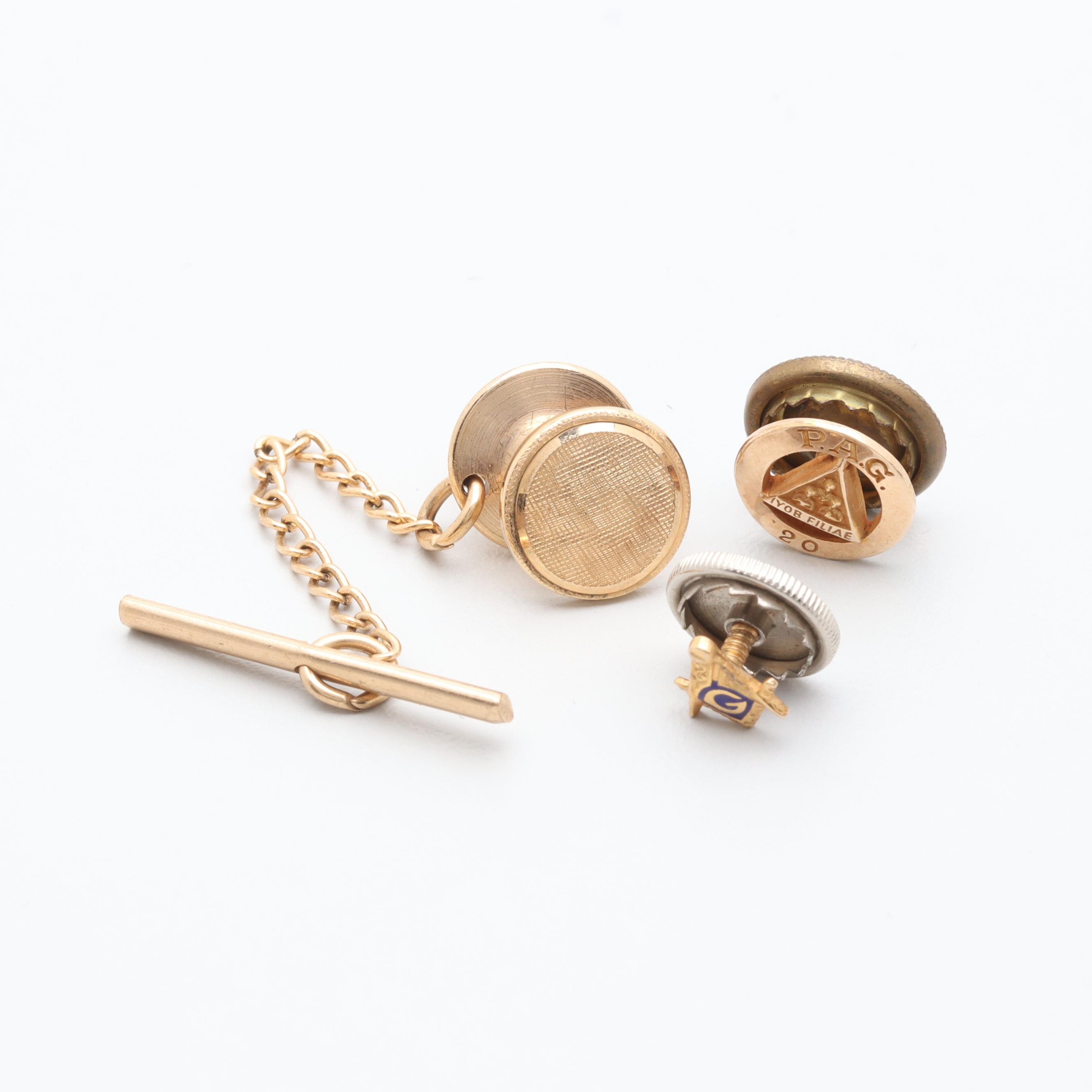 10K and 14K Yellow Gold Enamel Pins Including Freemason Emblems