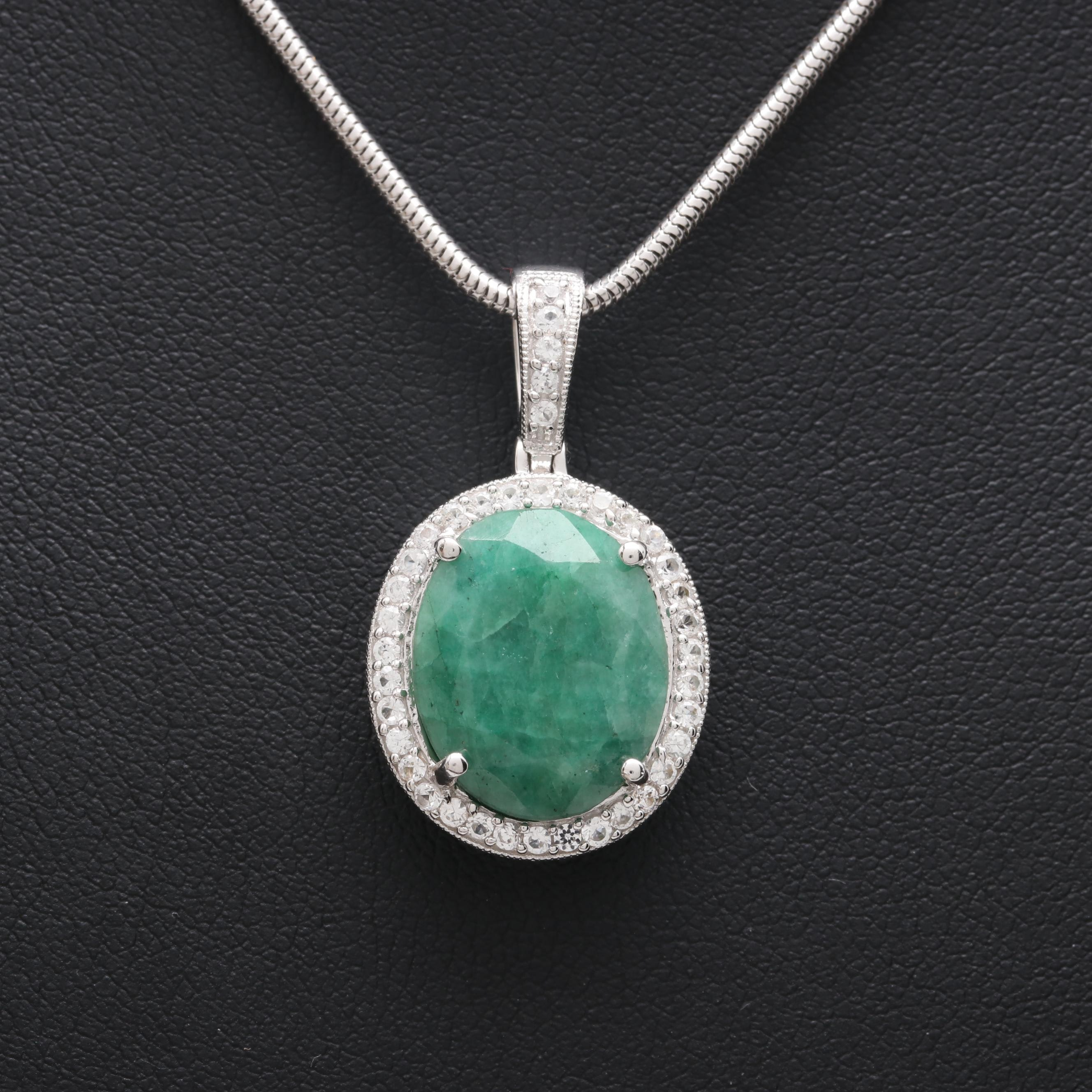 Sterling Silver Green Beryl and White Sapphire Pendant Necklace