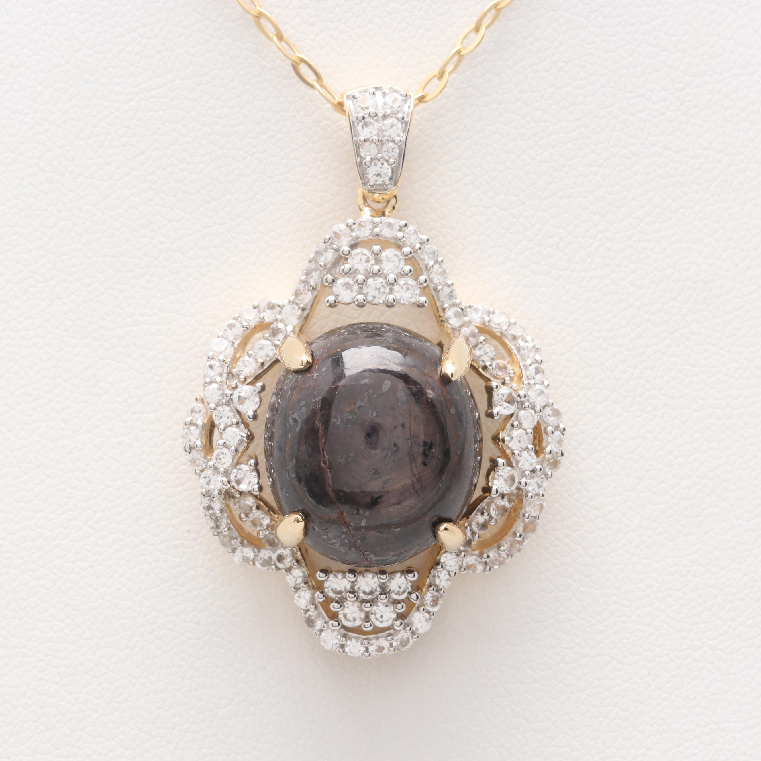 Gold Wash on Sterling Silver Purple Corundum and White Sapphire Pendant Necklace