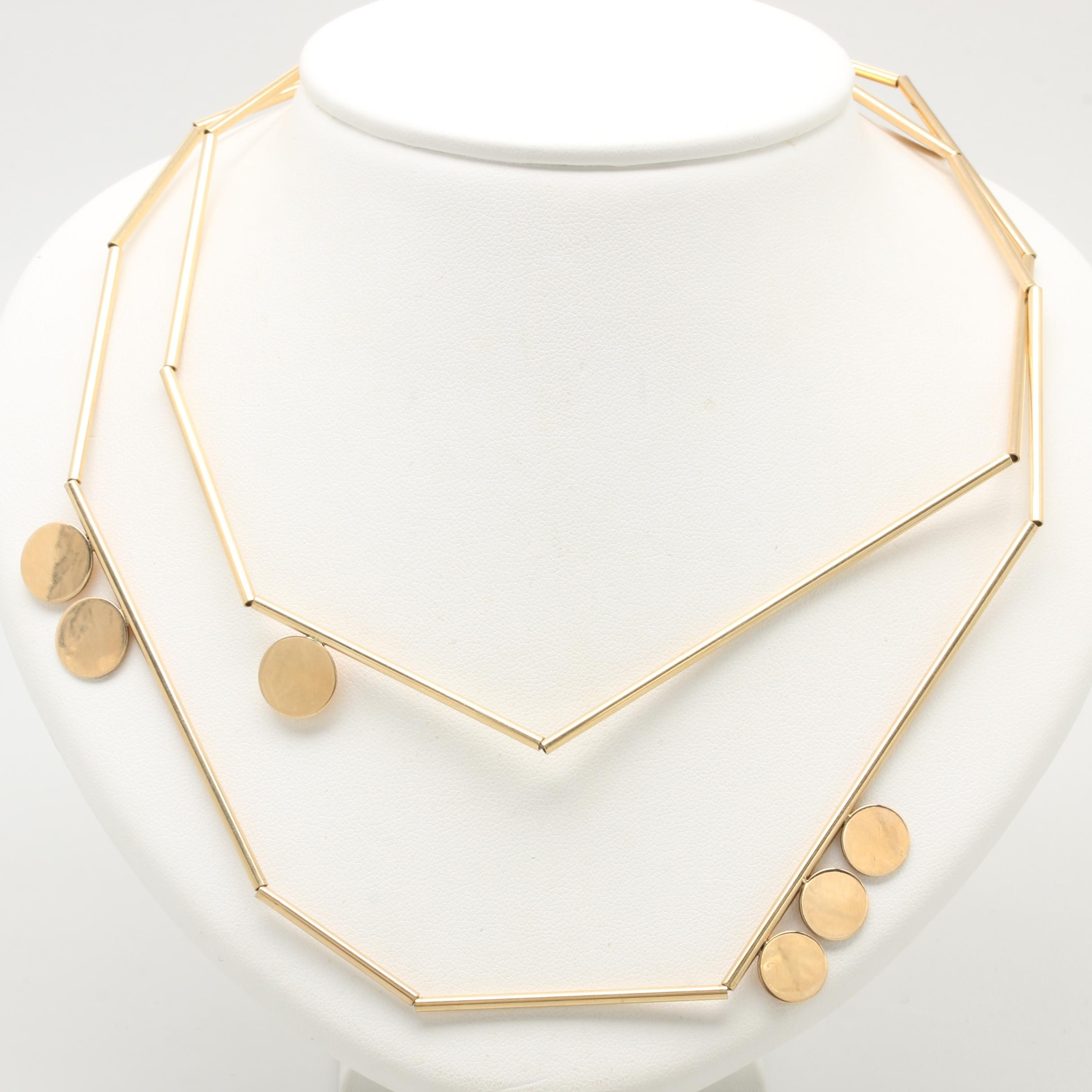Circa 1960s Modernist Betty Cooke 14K Yellow Gold Necklace