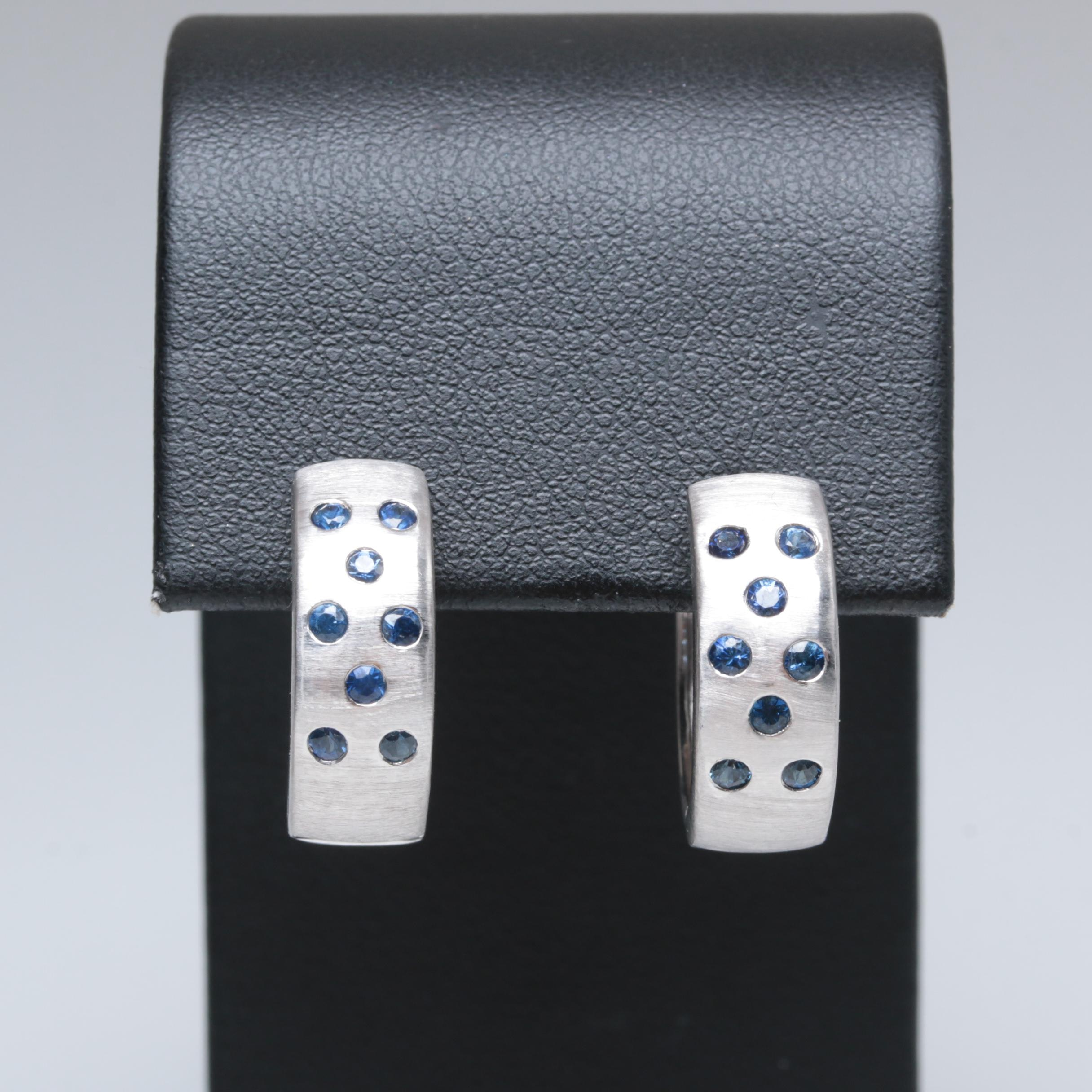 14K White Gold Blue Sapphire Huggie Hoop Earrings