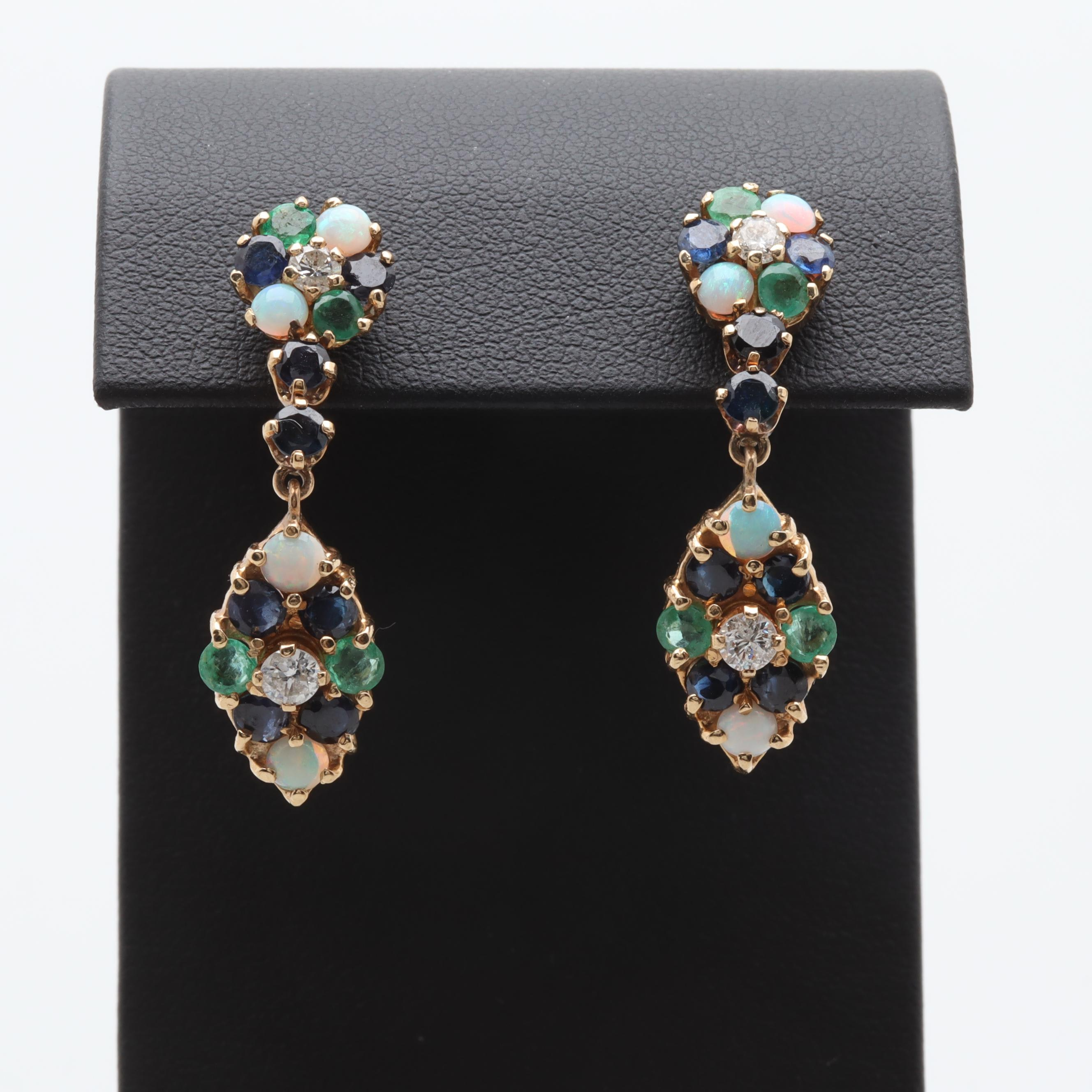 14K Yellow Gold Diamond, Emerald, Opal, and Sapphire Earrings
