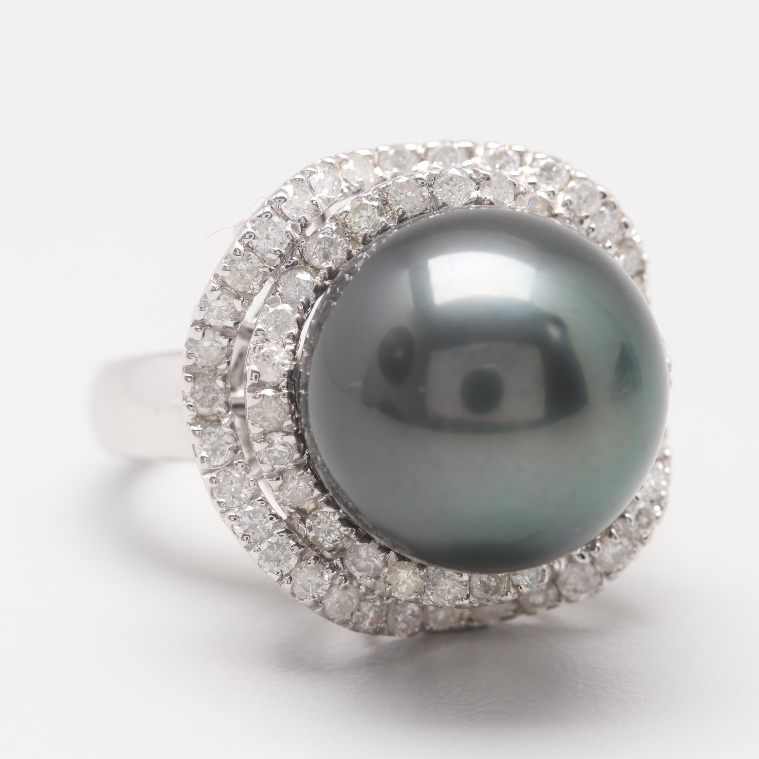 14K White Gold Cultured Pearl and 1.05 CTW Diamond Ring