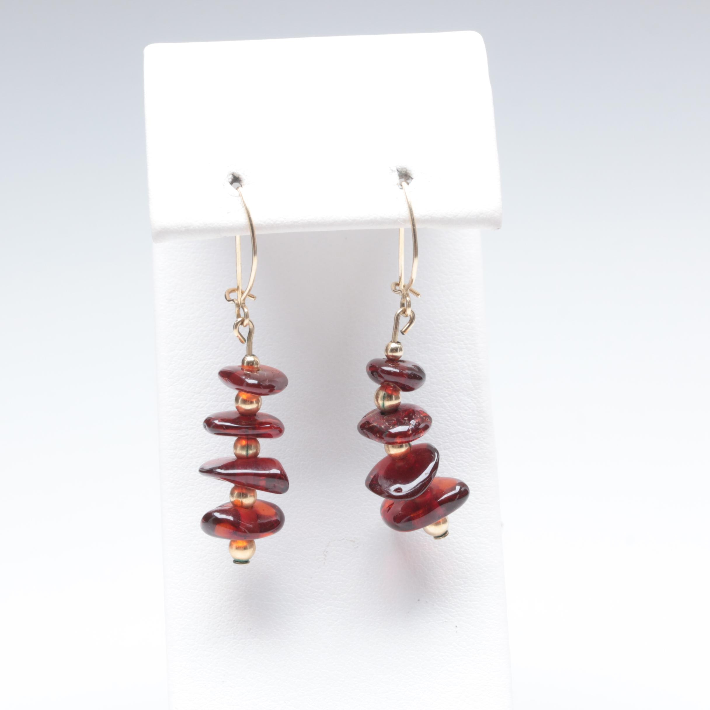 10K and 14K Yellow Gold Amber Earrings