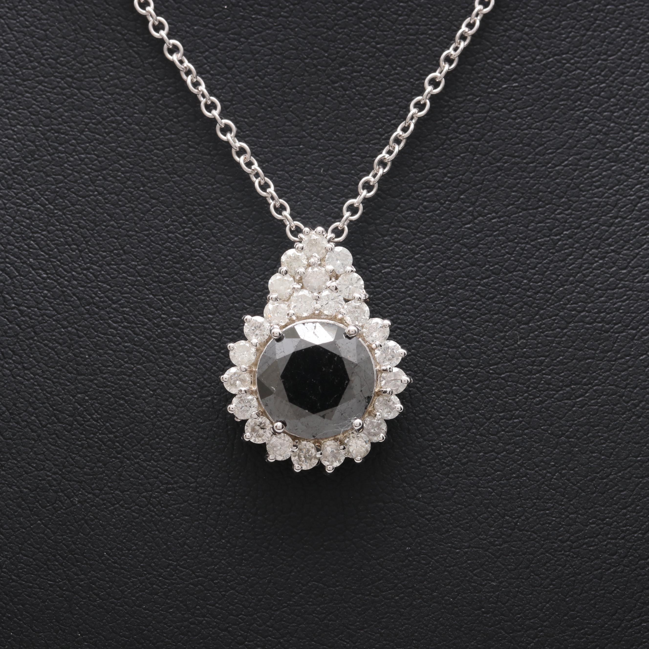 14K White Gold 4.23 CTW Diamond Pendant Necklace Including Black Diamond