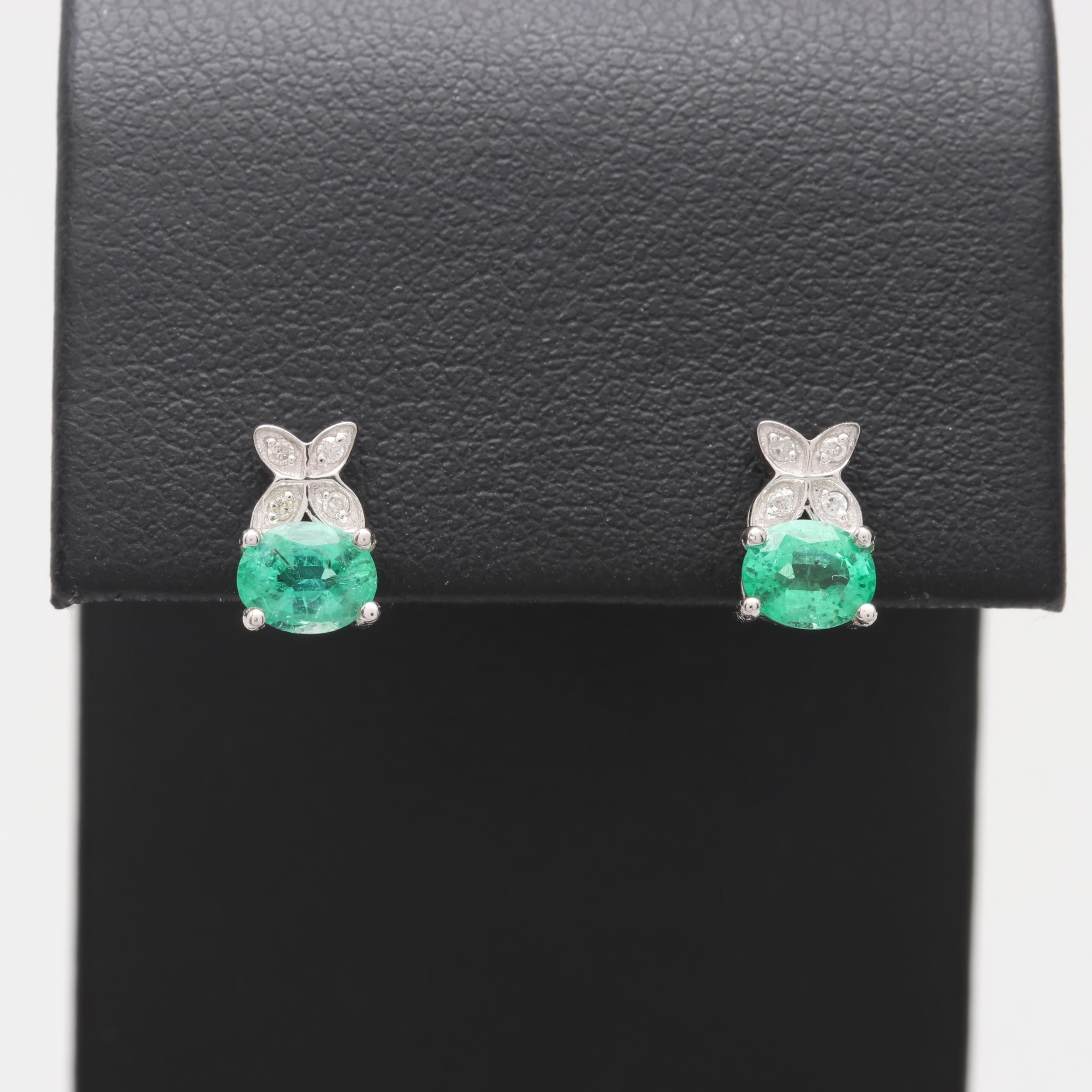 18K White Gold Emerald and Diamond Stud Earrings